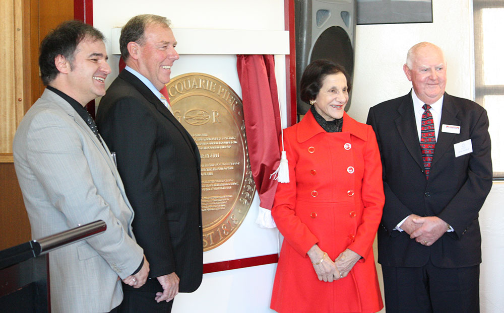 The Macquarie Pier Commemorative Plaque unveiled by Her Excellency Professor Marie Bashir AC CVO, Governor of New South Wales at a ceremony at the Nobbys Surf Life Saving Club on the 4 August 2010 at 4 pm.