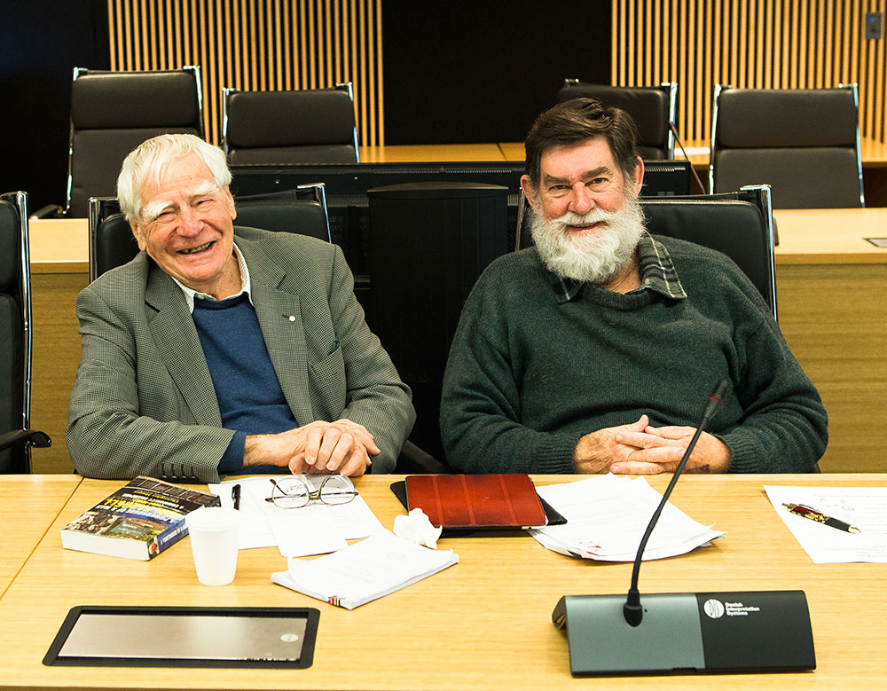 Doug Lithgow and Emeritus Professor John Fryer - Members of the CRWP since 2003, photographed in 2015 (Photo Credit: Charlie Hardy)