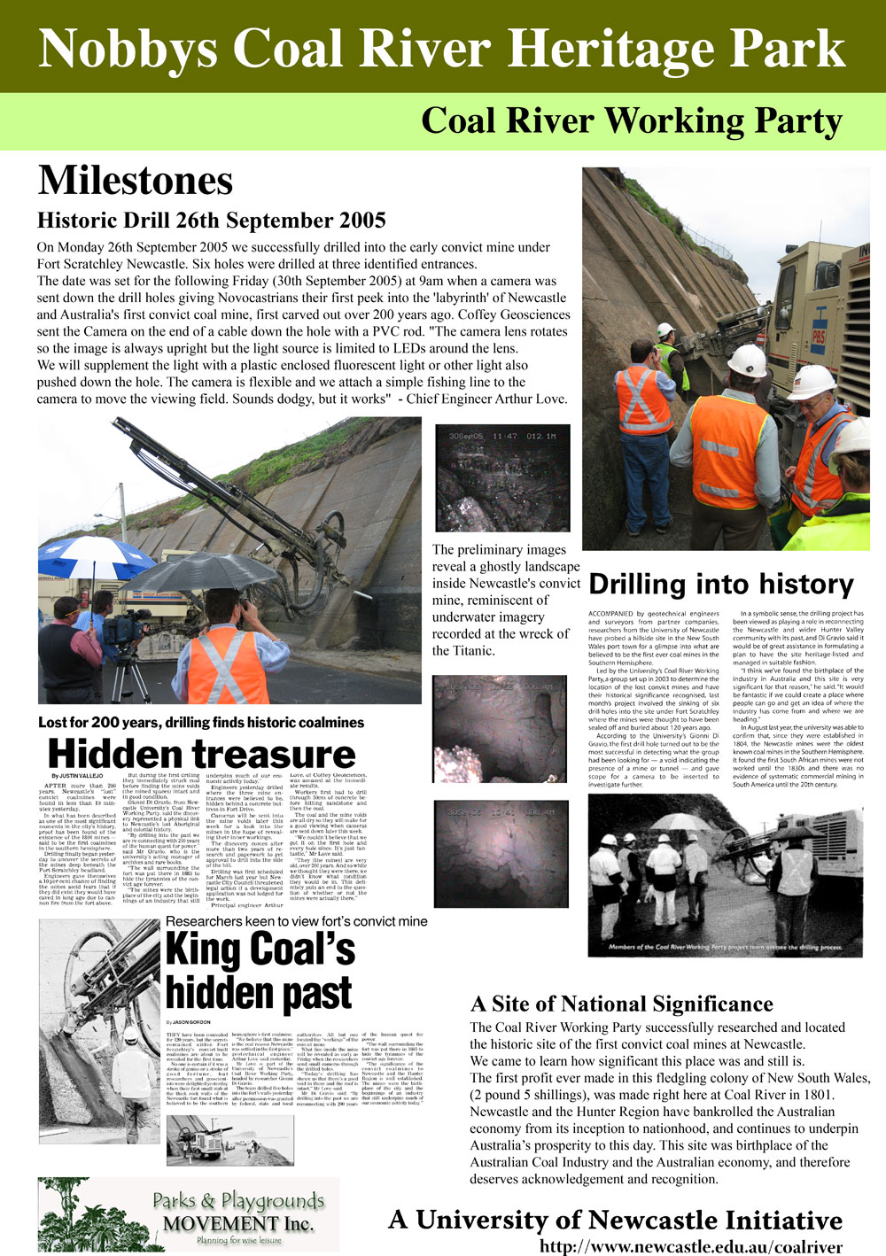 Coal River Working Party Poster No. 10 - Milestones - Historic Drill 26th September 2005