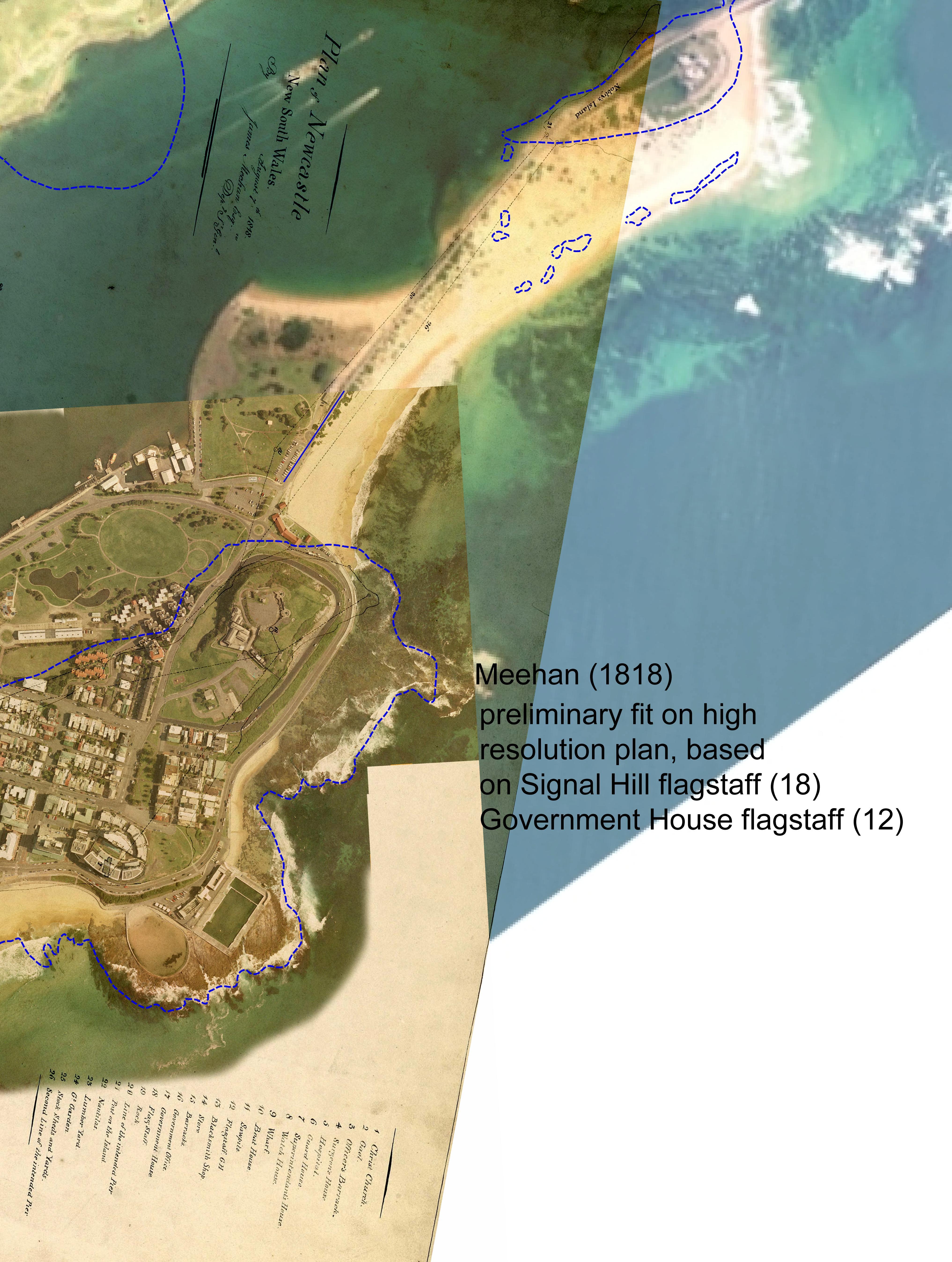 Overlay of James Meehan 1818 plan