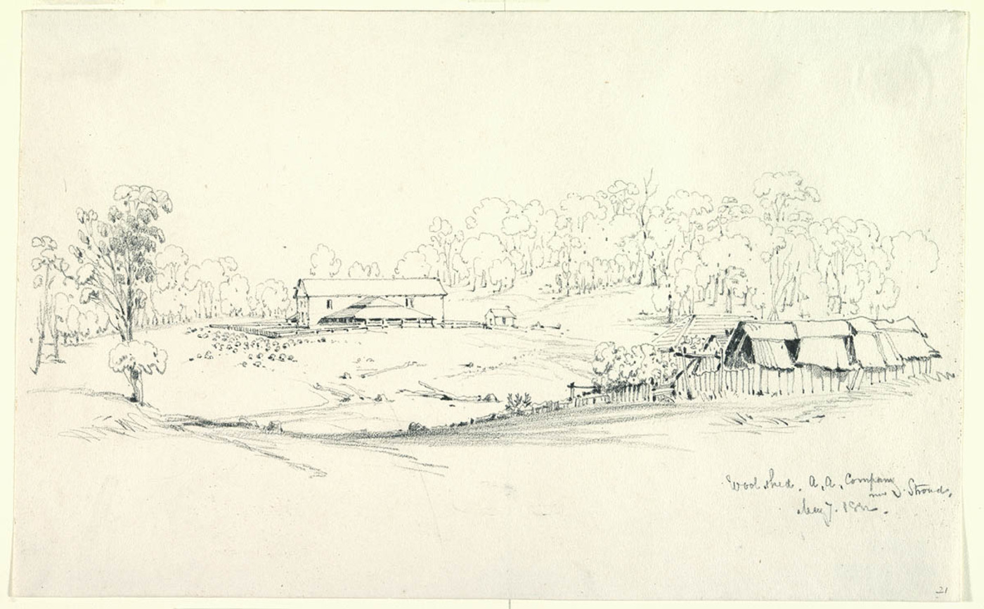 21. Wool shed. A.A.Company near Stroud. May 7 1852 (Courtesy of the State Library of NSW)
