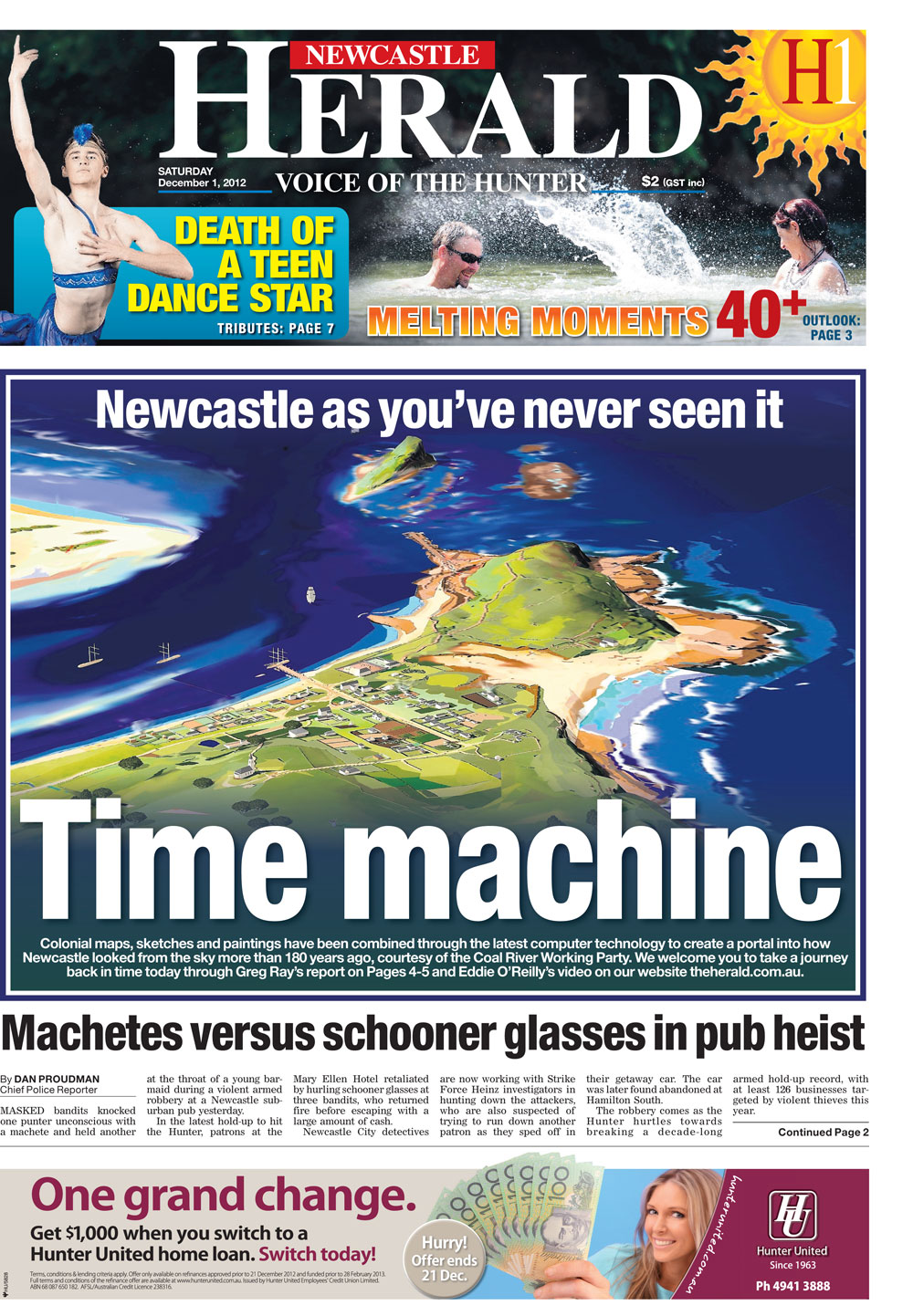 Time Machine - Newcastle Herald Front Page