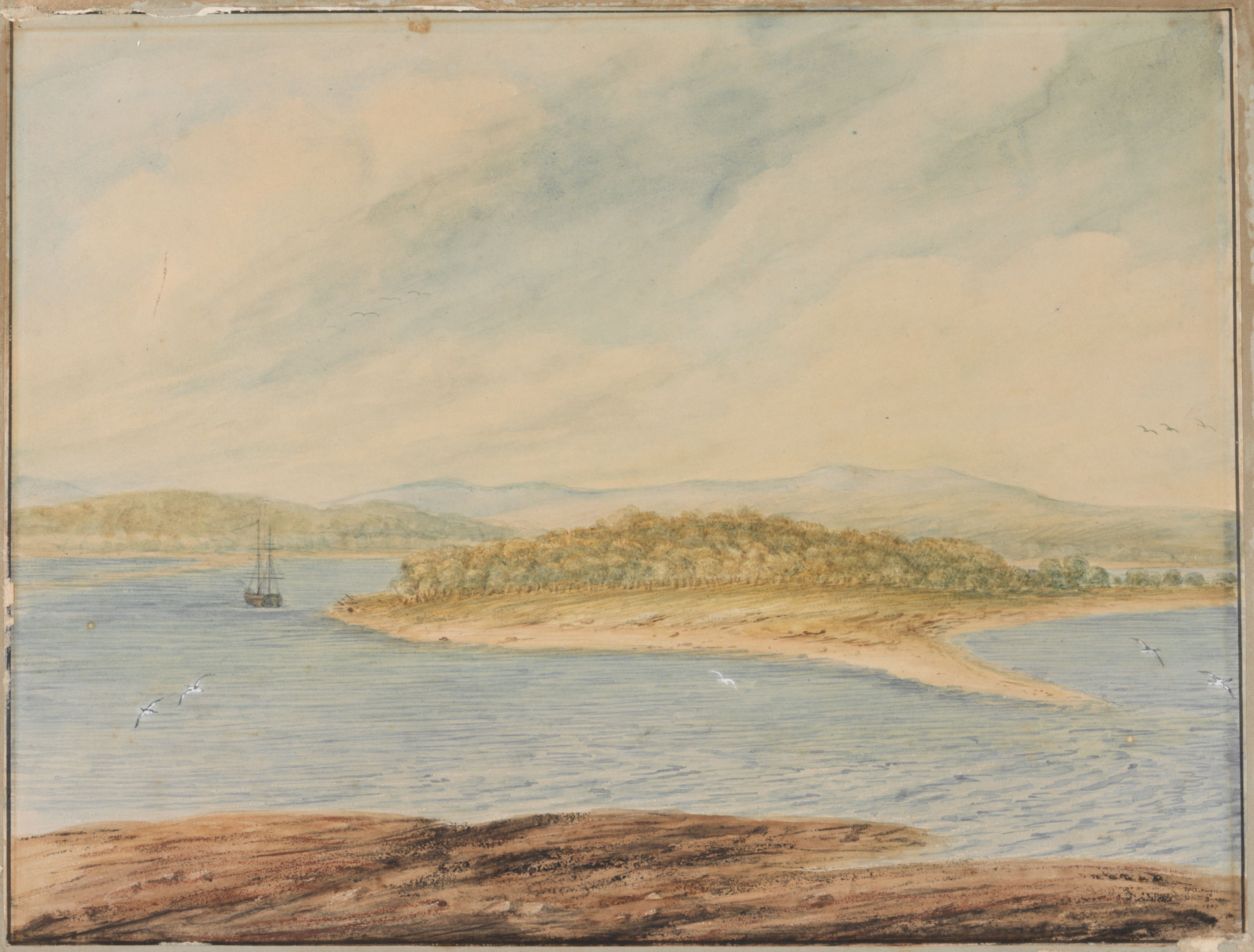 """""""Coal River, N.S. Wales 1807"""" by I.W. Lewin. Courtesy of the State Library of NSW"""