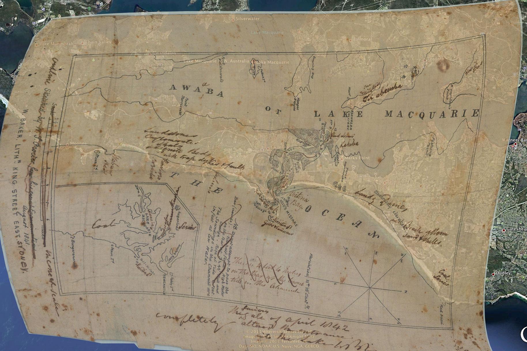 1841 Awaaba Map overlay in Google Earth