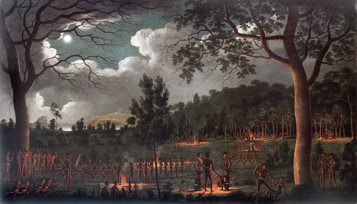 Joseph Lycett - Corroboree at Newcastle c.1818 (Courtesy of the State Library of New South Wales)