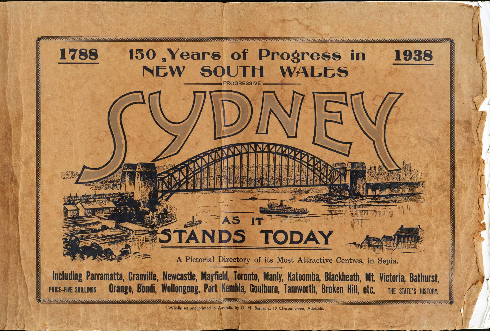 """Cover of """"Progressive Sydney as it stands today"""" (1938)"""