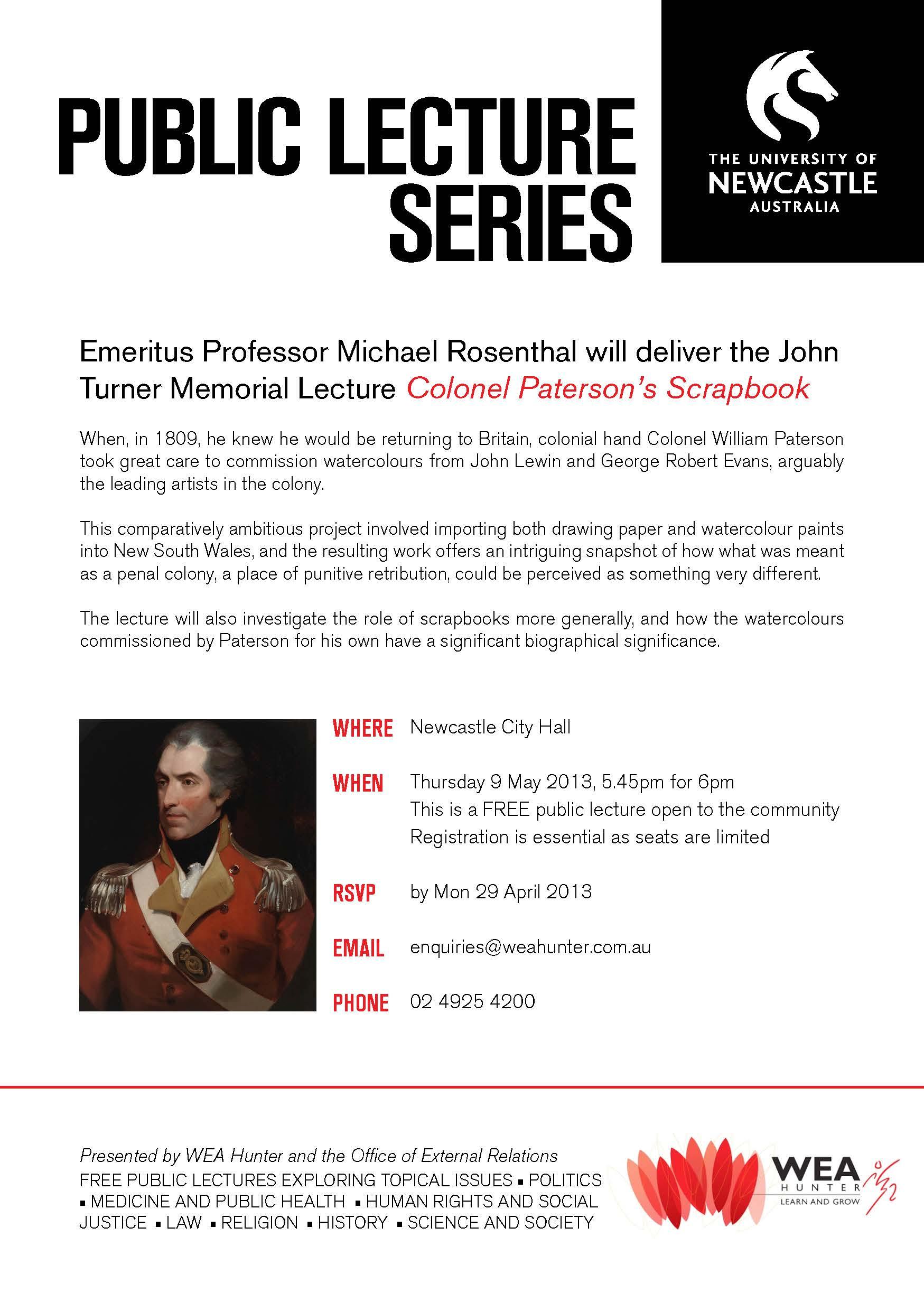 John Turner Memorial Lecture Flyer - 9 May 2013