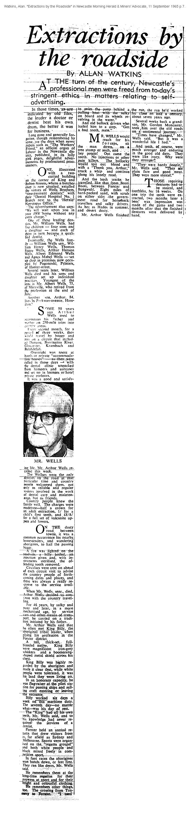 """Alan Watkins """"Extractions by the roadside"""" NMHMA 11 September 1965 p.7"""