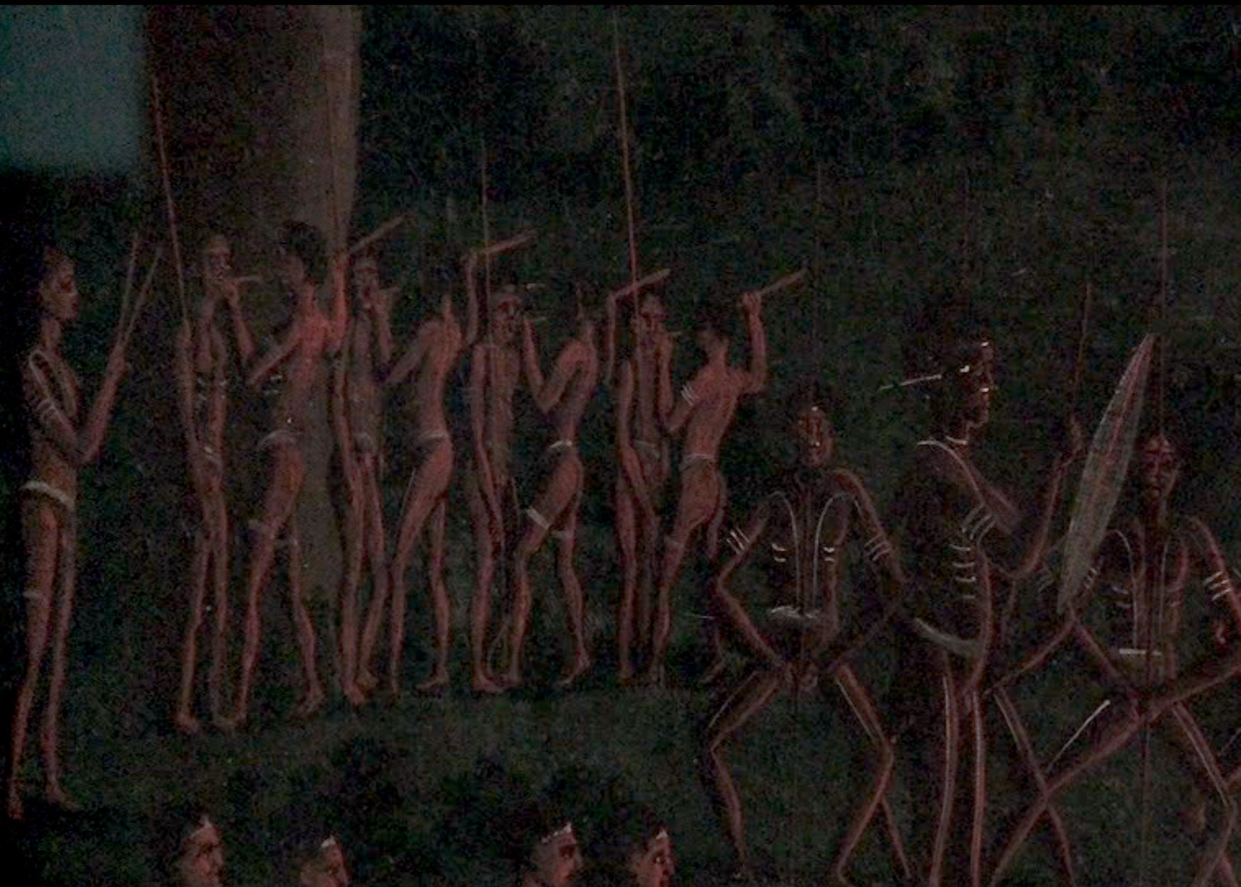 Newcastle Aborigines undergoing initiation with the knocking out of the tooth - from Lycett's Corroborree (Detail) - Courtesy State Library of NSW
