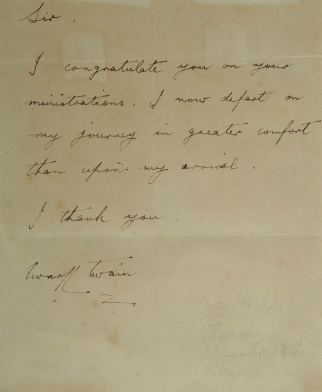 Twain to dentist Wells, Thursday 19 December 1895
