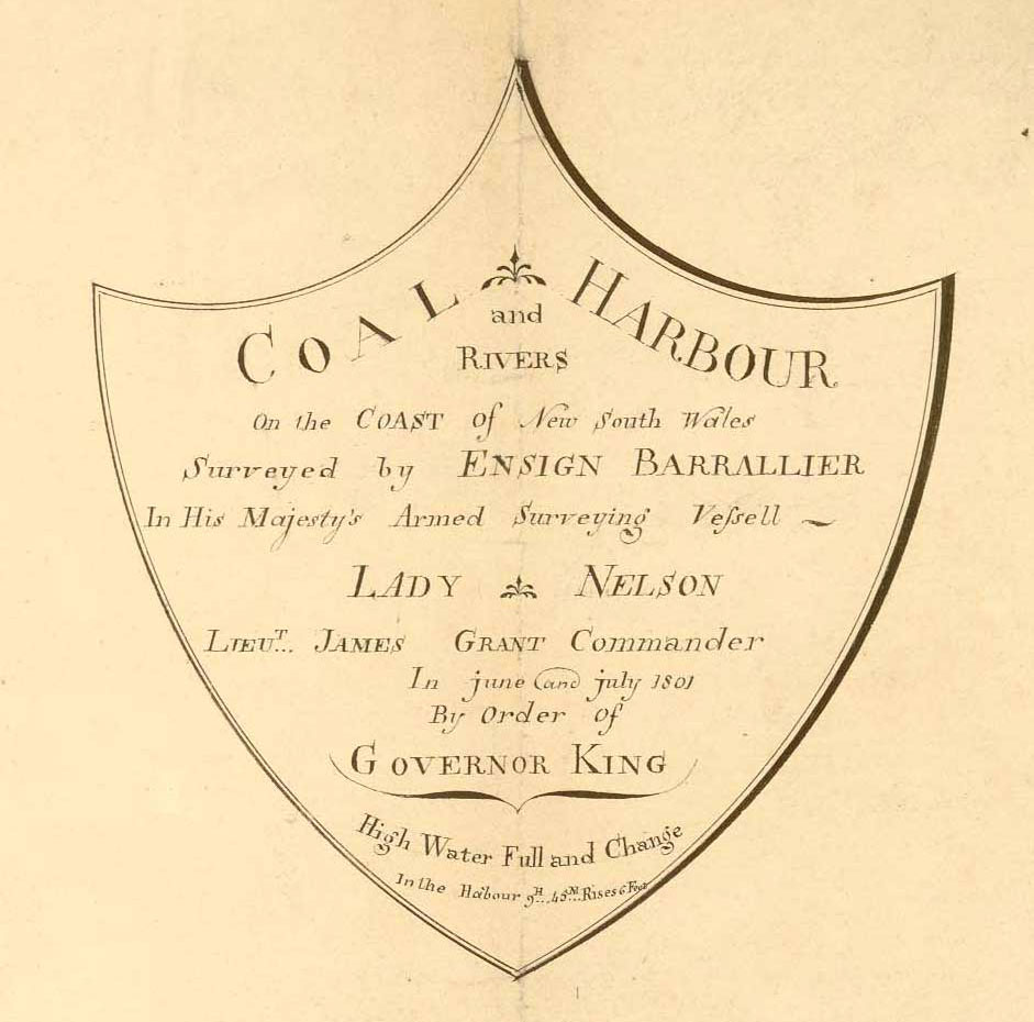 Coal Harbour shield accompanying Barrallier's 1801 survey (Courtesy of the National Archives UK)