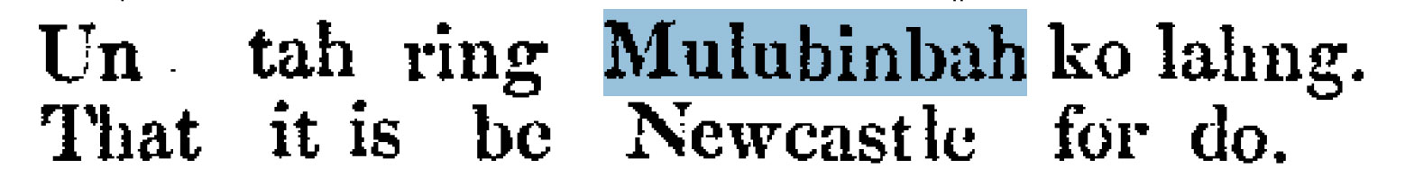 """""""Mulubinbah"""" from Threlkeld's 1827 book Specimens of a Dialect of the Aborigines of New South Wales; Being the first attempt to form their speech into a written language. Sydney: Printed at the Monitor Office, 1827."""