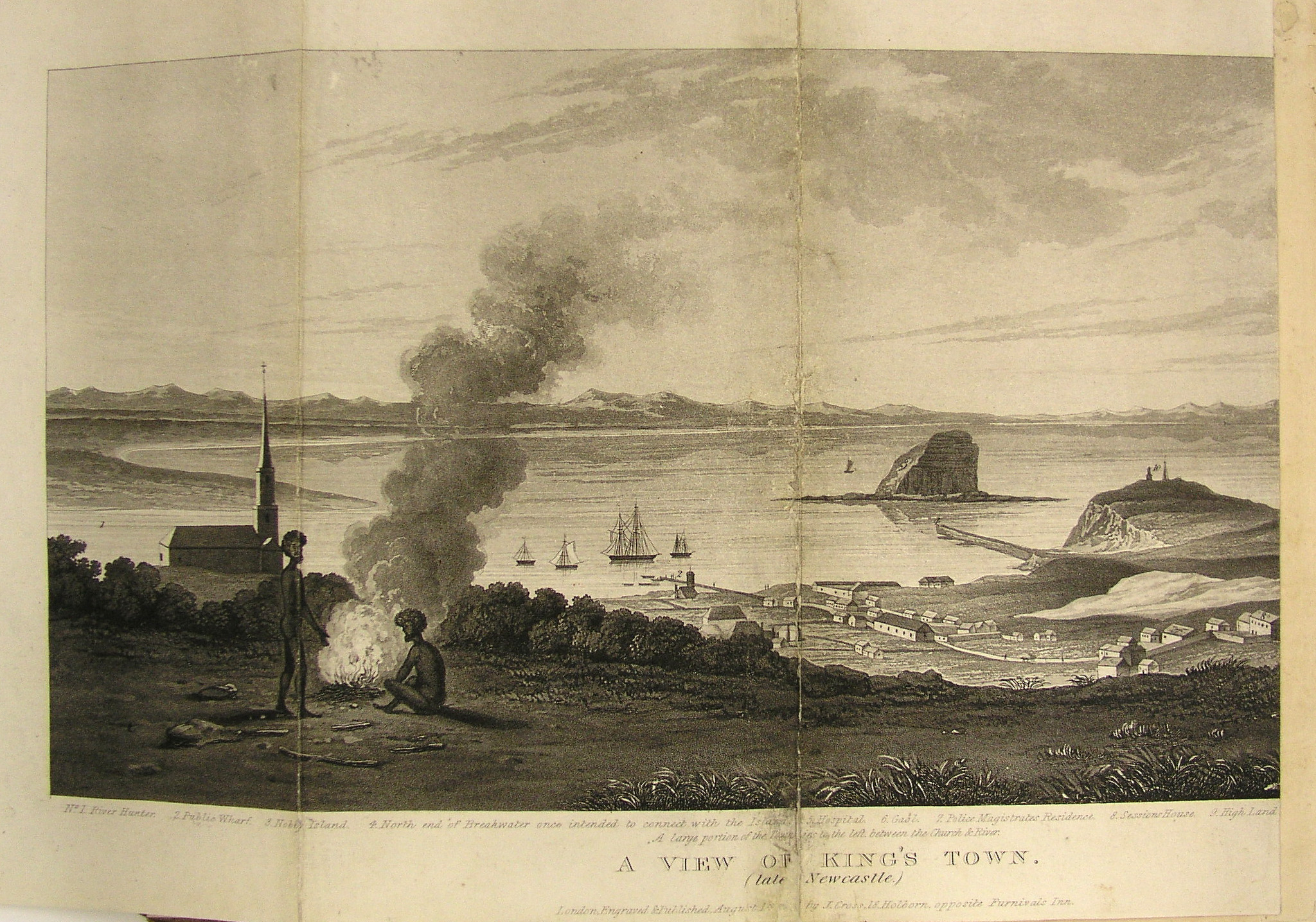 Cross, Joseph. A View of King's Town (Late Newcastle) 1828. Published in Henry Dangar's Index. (University of Newcastle Rare Book Collection)
