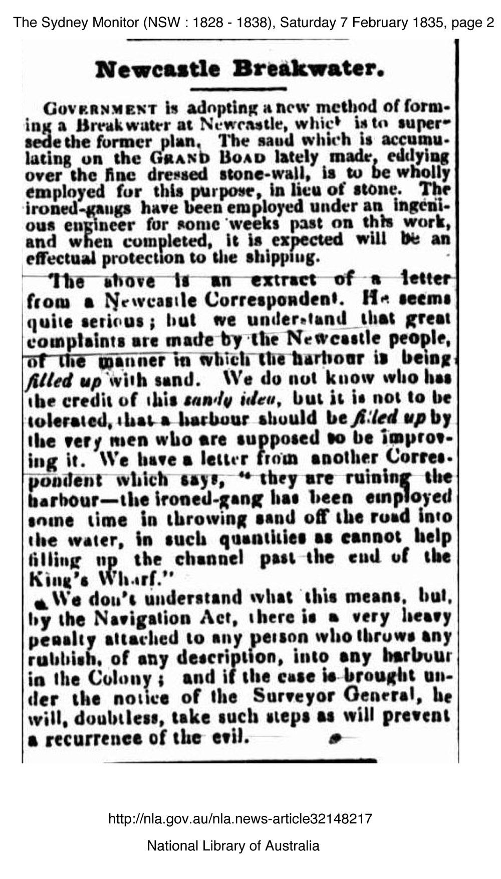 Newcastle Breakwater (Sydney Monitor 7th February 1835 p.2)