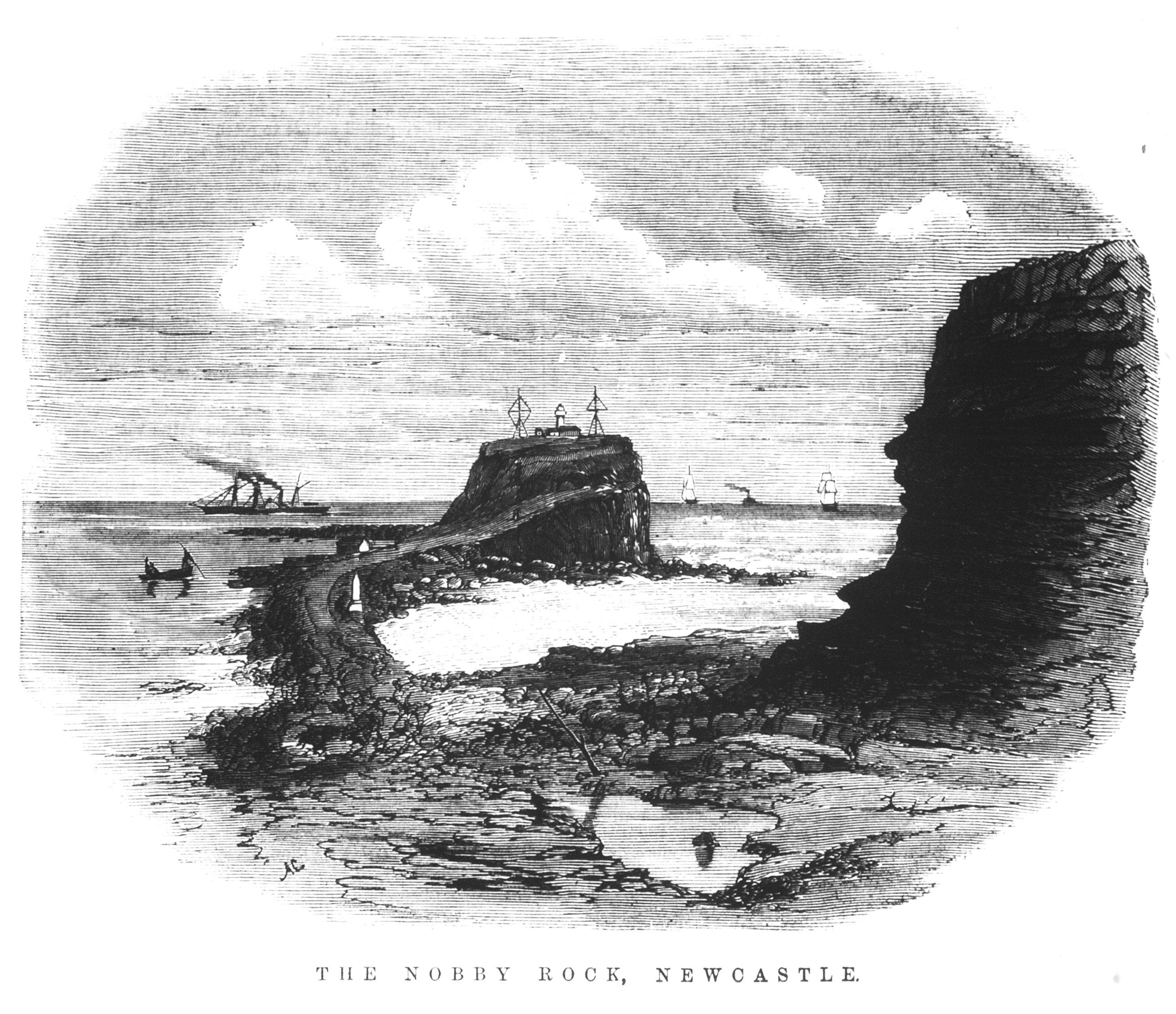 The Nobby Rock Newcastle (Illustrated Sydney News 25 November 1871 p.189)