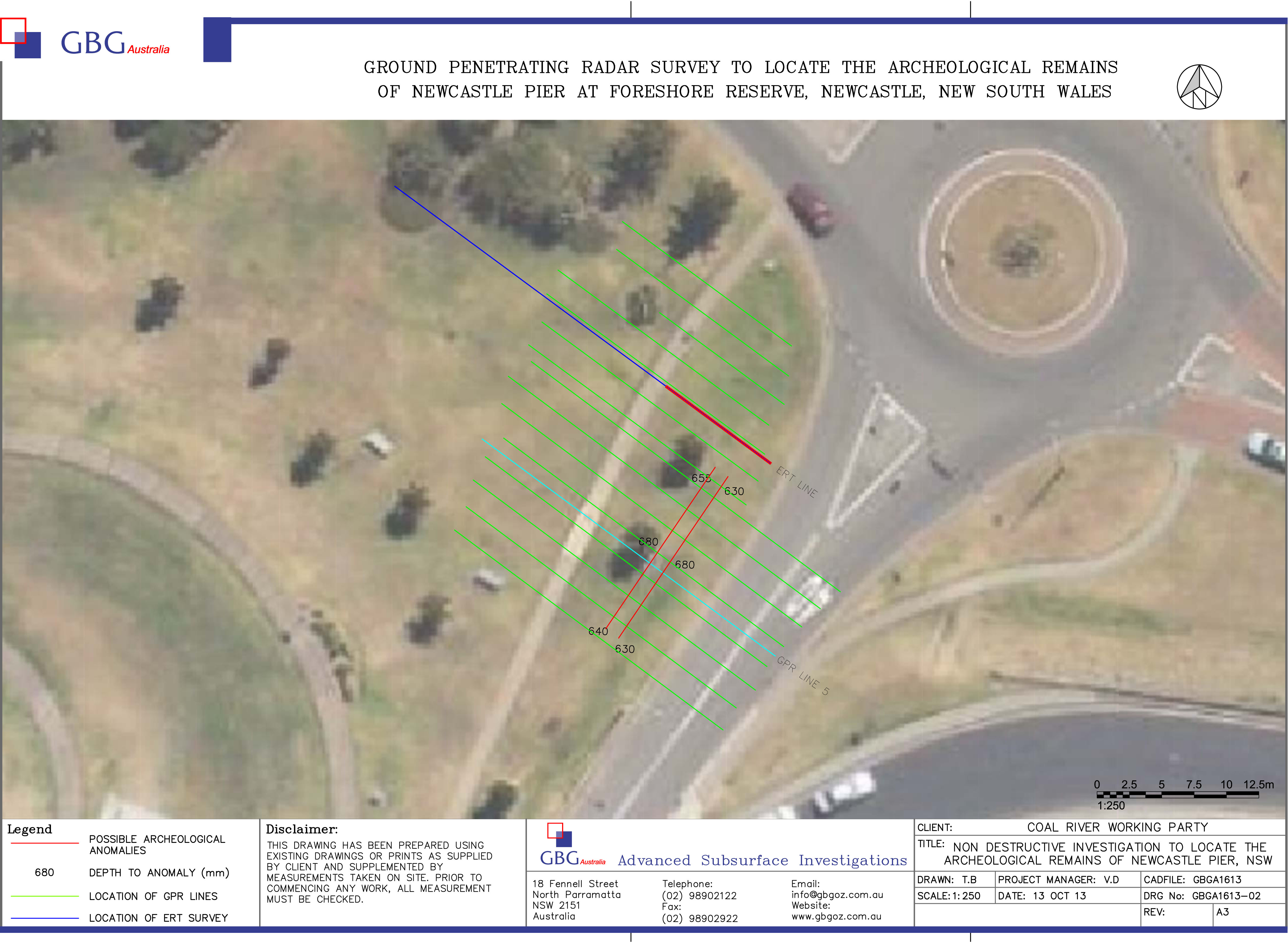 Aerial view of target site showing sweeps of GPR (green), and area of possible relic on the ERT line (coloured blue) Courtesy of GBG Australia