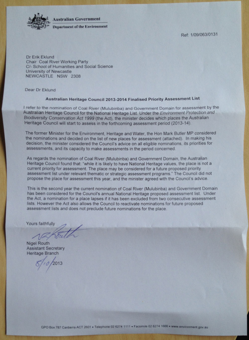 Letter from Department of Environment with notification of Newcastle's rejection from the National Heritage List