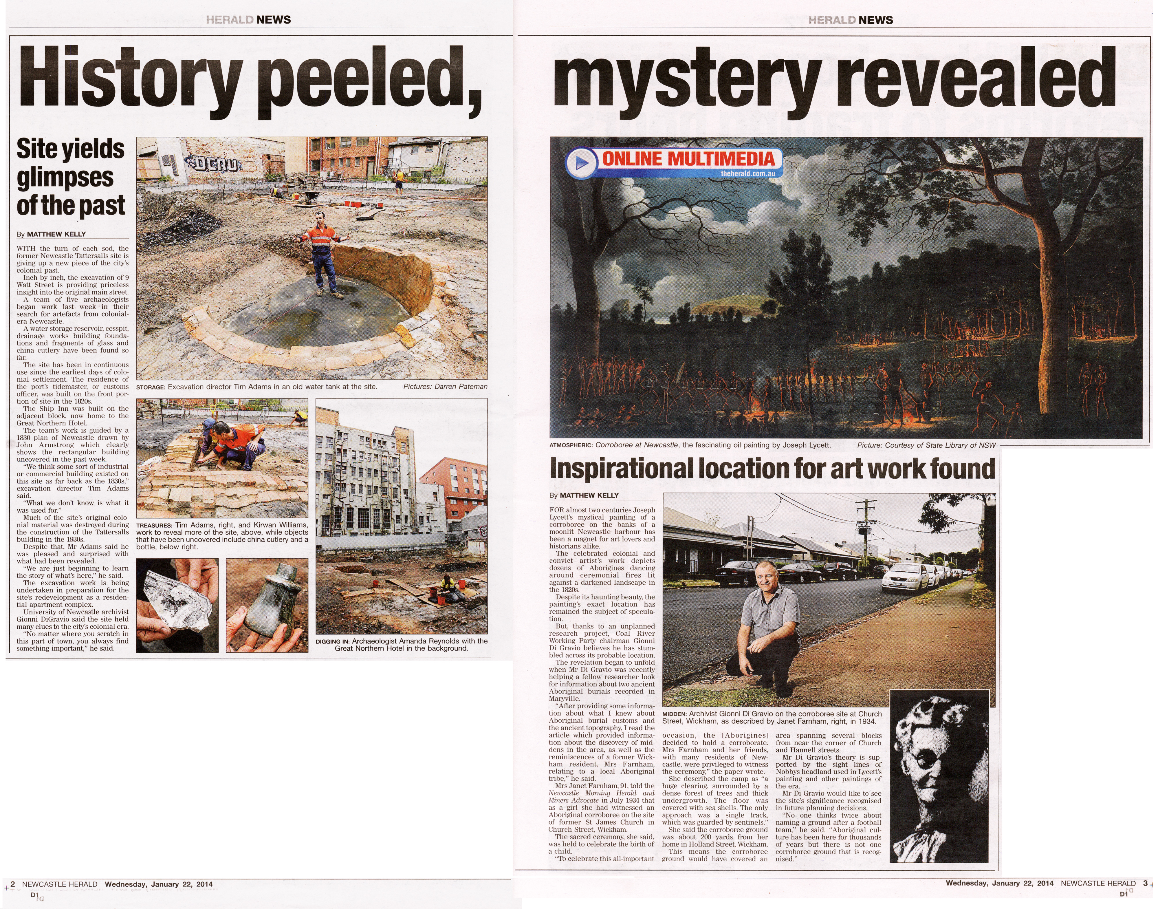 """""""History peeled. mystery revealed"""" by Matthew Kelly Newcastle Herald 22nd January 2014 pages 2-3"""