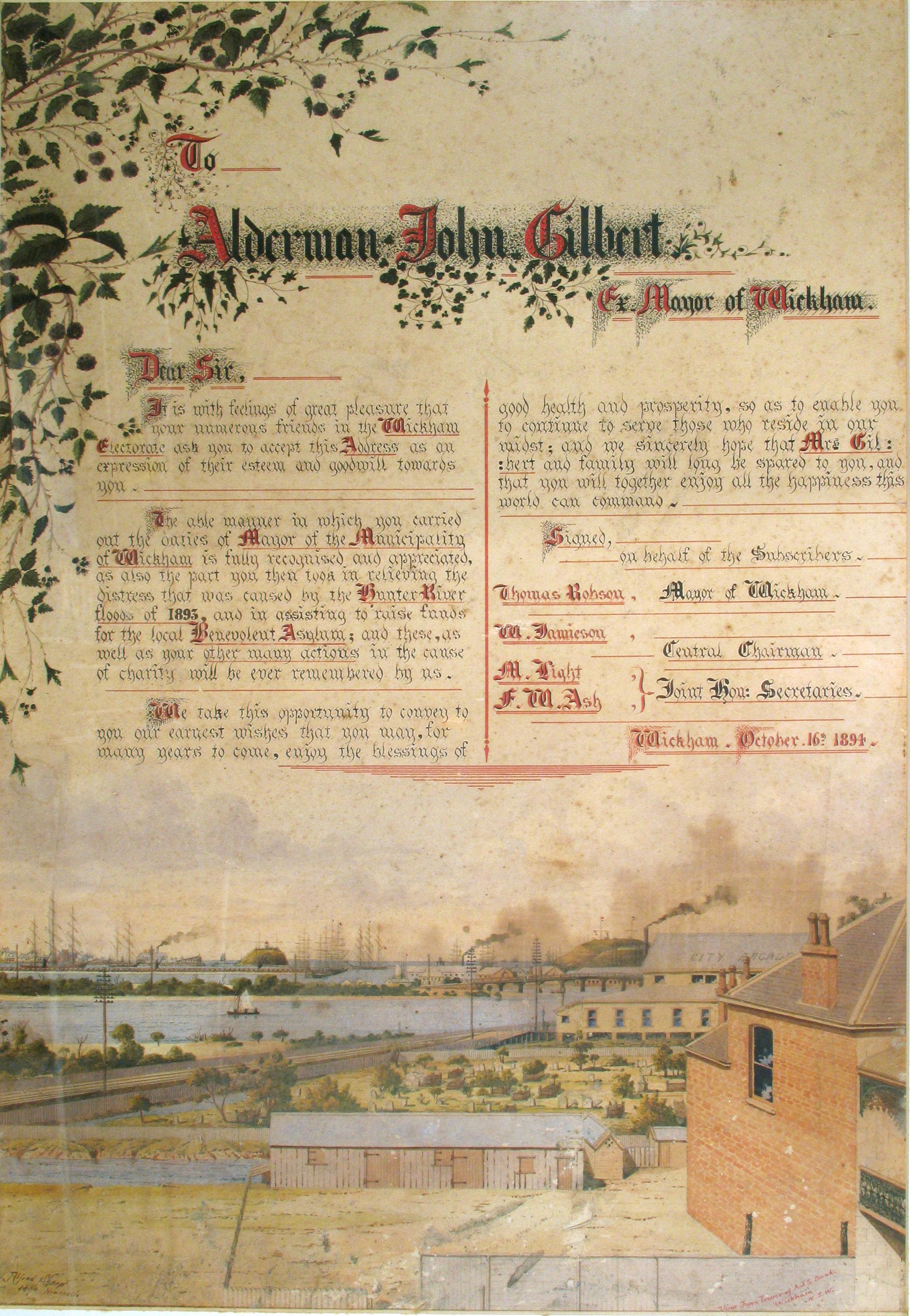 Illuminated address presented to John Gilbert, former Mayor of Wickham, 1894 (Courtesy of Local Studies, Newcastle Region Library)