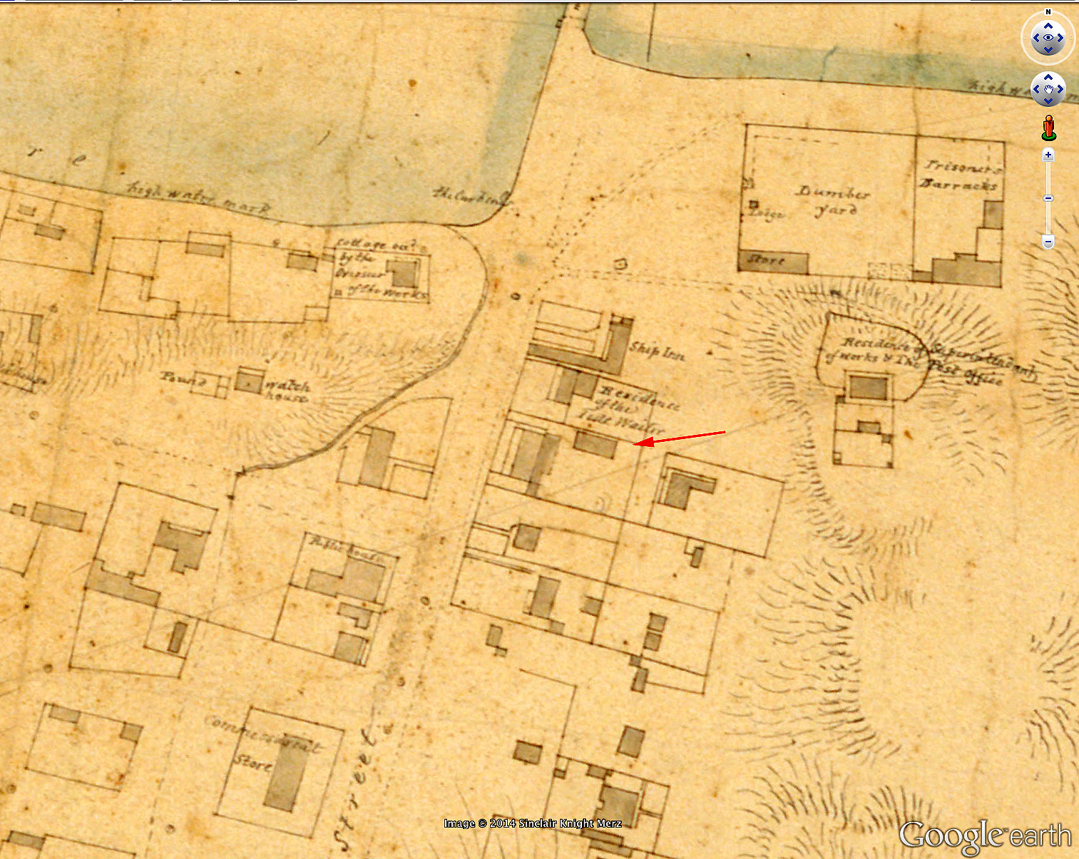 Rectangular mystery building on Armstrong's 1830 plan.