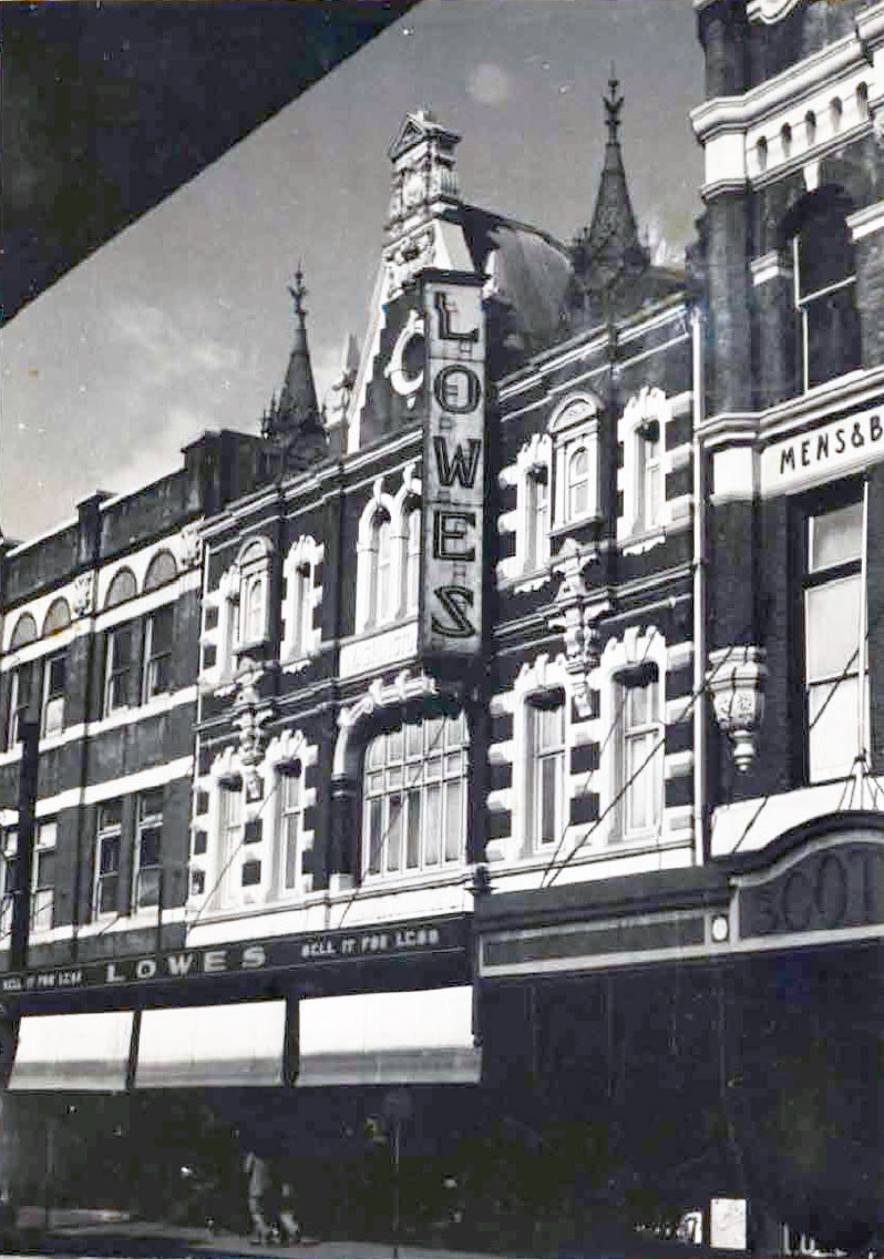 Charleston Studios Building, as Lowes, photographed circa 1950s. (Les Reedman)