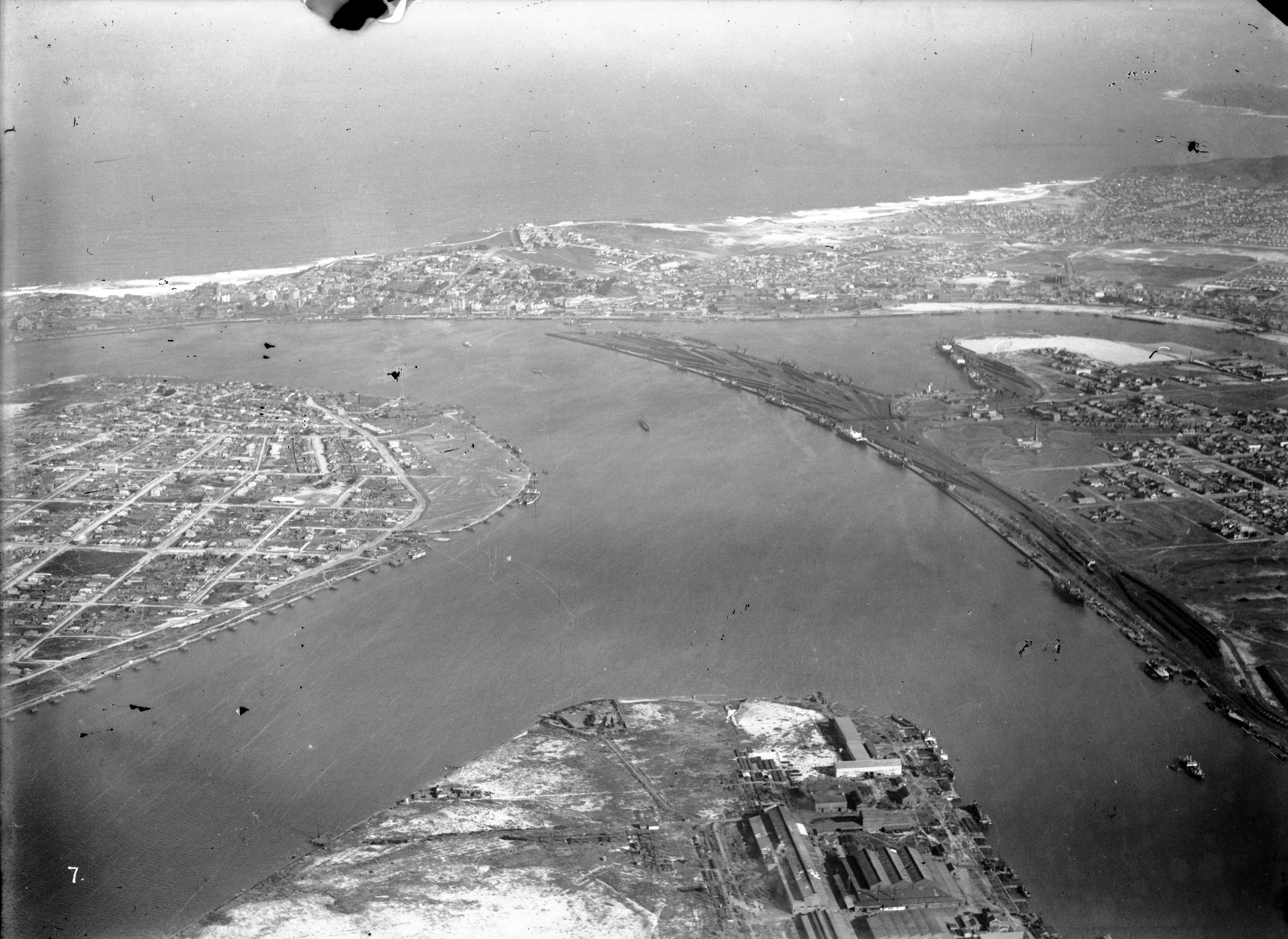 Newcastle, Port Hunter, Stockton, Walsh Island, The Dyke, Carrington, The Basin, Bullock Island, Throsby Creek. (Photograph by Milton Kent Airplane Photographs, Sydney. Southern No. 57.3.-.7.1930.S.jpg)