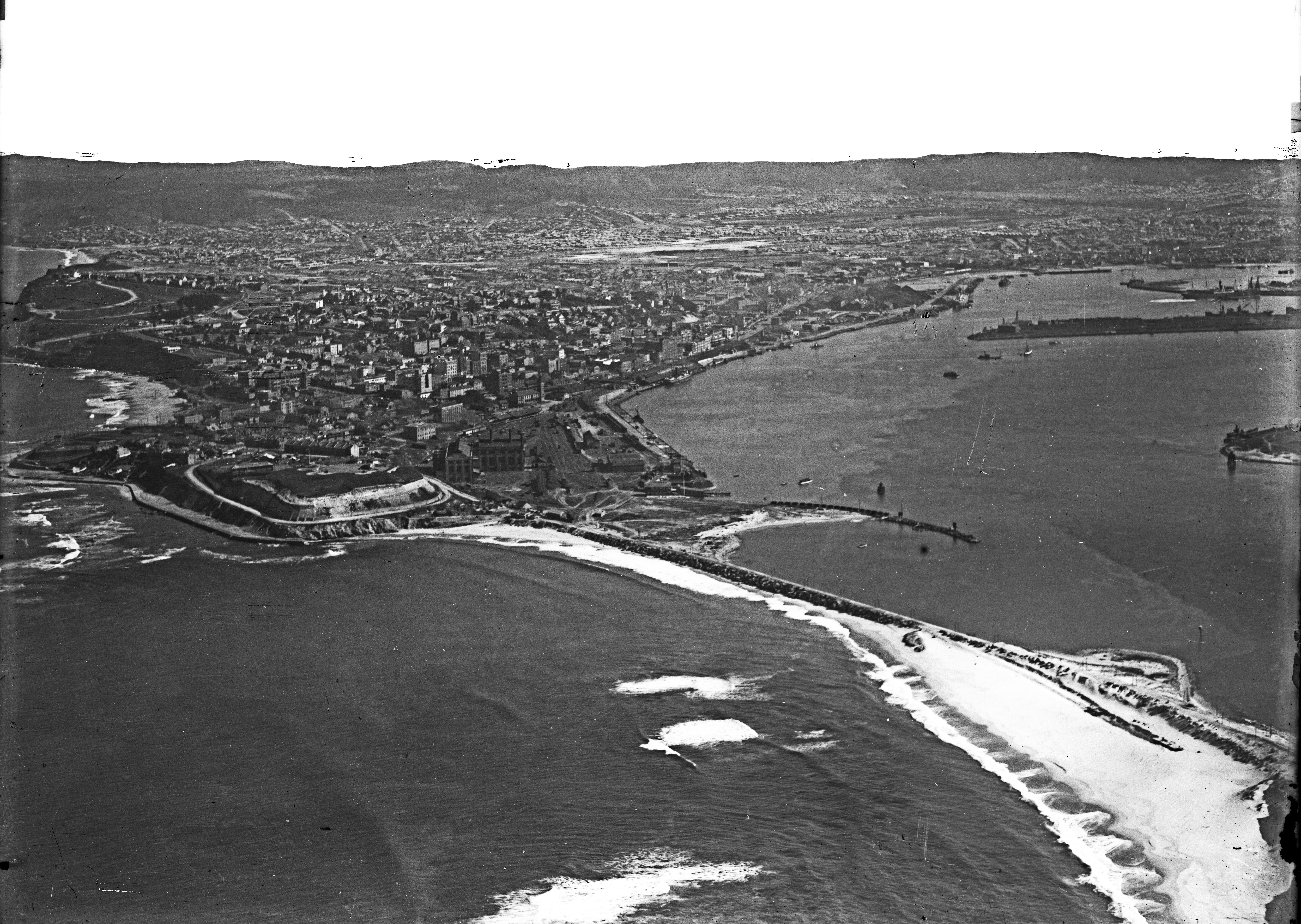 Merewether, Newcastle, Signal Hill, Fort Scratchley, Zaara Street Power House, Port Hunter, Wave Trap, Stoney Point, The Dyke, The Basin, Bullock Island (Photograph by Milton Kent Airplane Photographs, Sydney. Southern No. 66.-.-.-.1935.W.jpg)