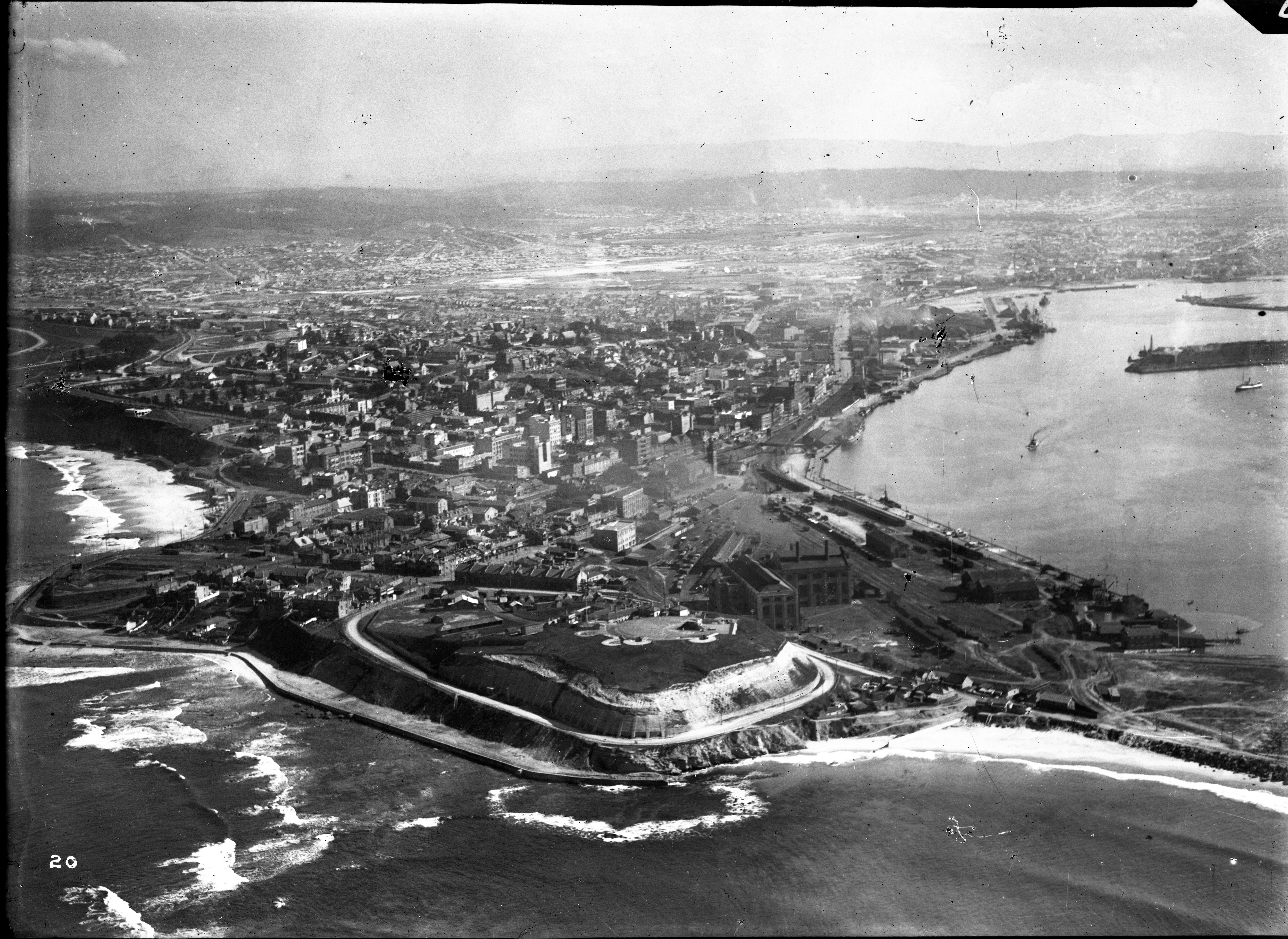 Newcastle, Signal Hill, Fort Scratchley, Zaara Street Power House, Port Hunter, The Dyke, The Basin (Photograph by Milton Kent Airplane Photographs, Sydney. Southern No. 70.4.-.20.1935.W.jpg)