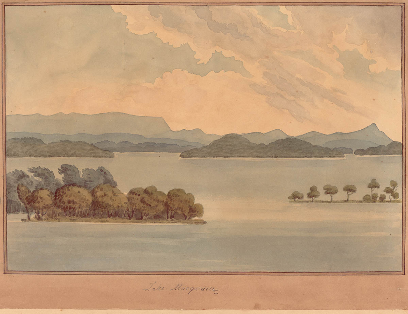 Lake Macquarie - watercolour by Edward Charles Close (1844) Courtesy of the State Library of NSW
