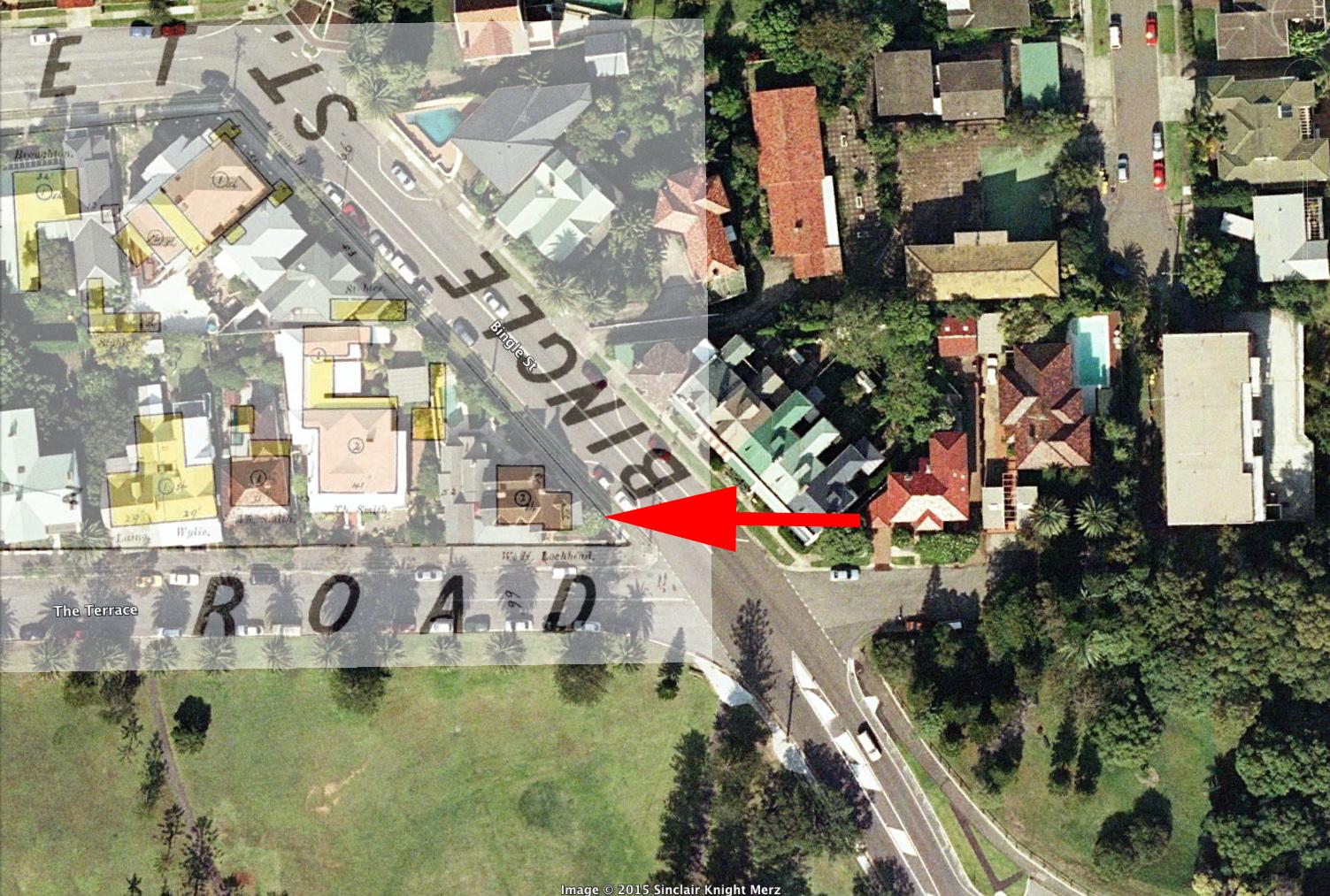 Property of W.K. Lochhead at corner of Bingle Street and Terrace Road, 1886 overlay by Gionni Di Gravio (2014)