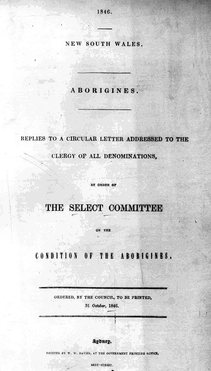 Cover of the 1846 Select Committee Report on the Condition of Aborigines