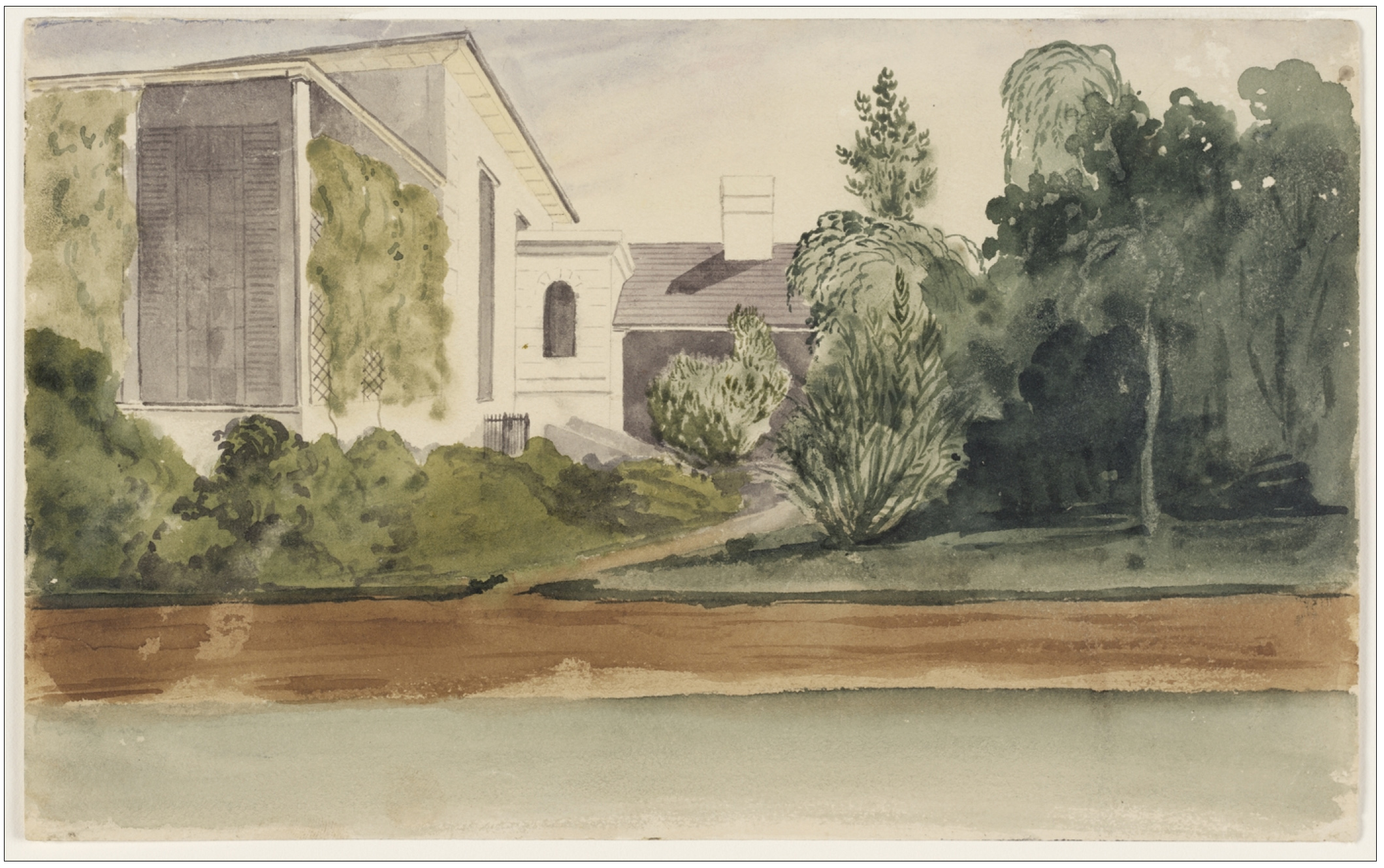 17(a). Stroud House, 1850. Watercolour. Unsigned, dated and titled on old mount. (Courtesy of State Library of NSW)