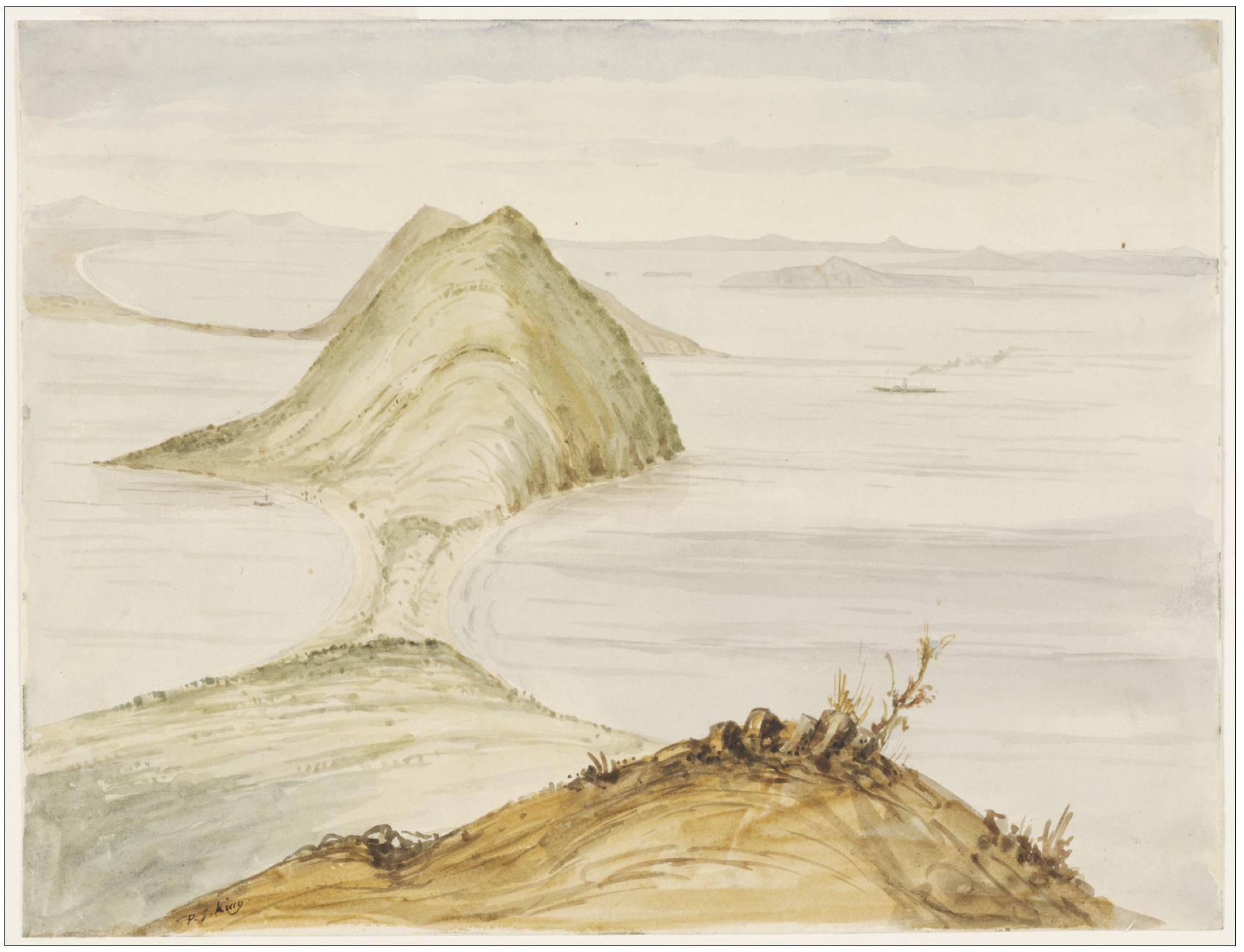 19. Entrance to Port Stephens. Watercolour. (Courtesy of State Library of NSW)