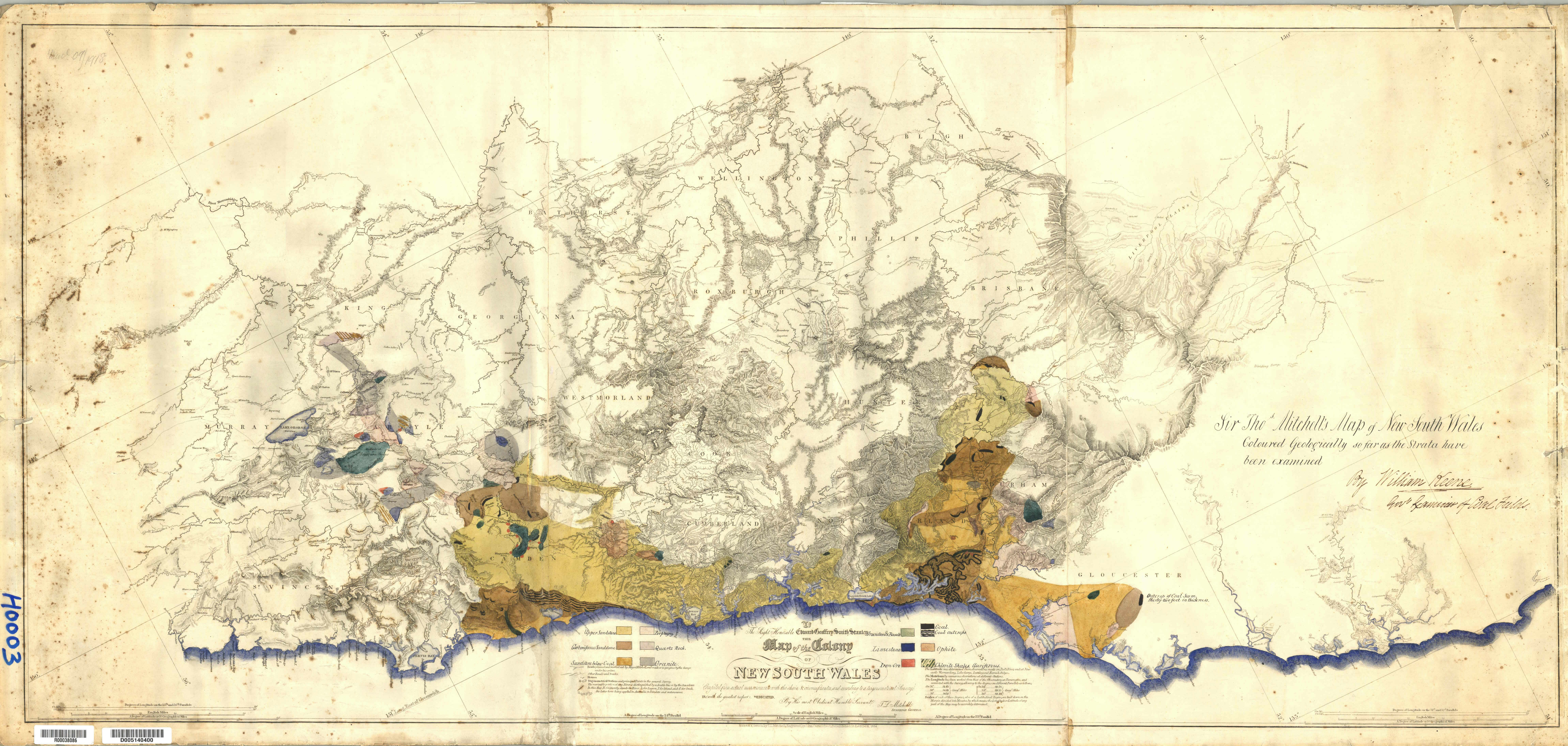 Map of the Colony of New South Wales 1834 by T.L. Mitchell, Surveyor General (Courtesy of the DIGS Database)