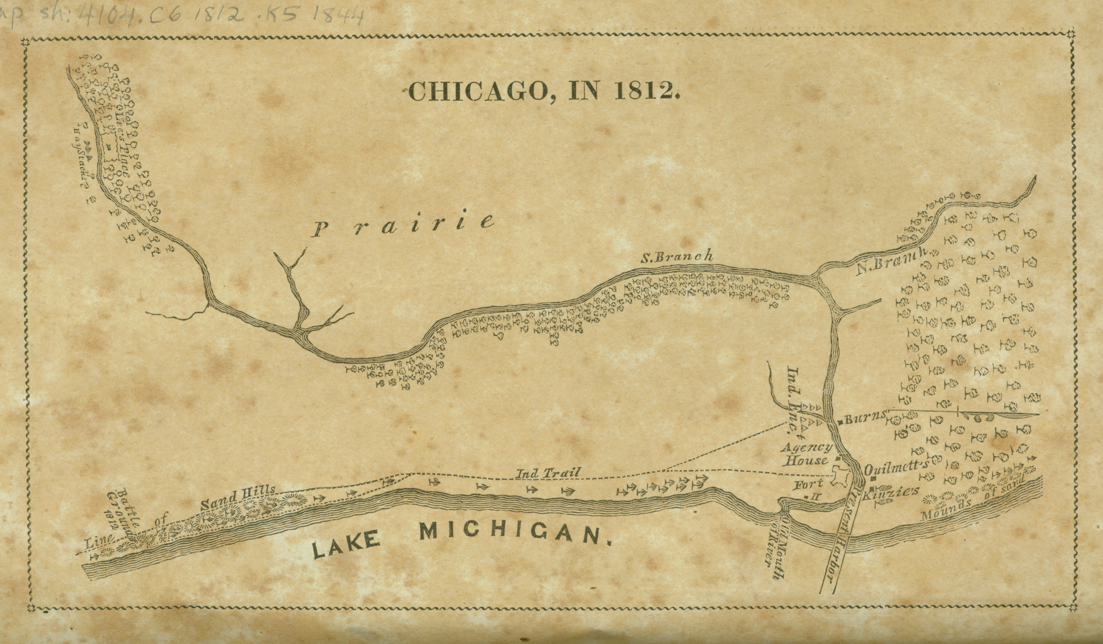 """""""Chicago, in 1812"""" Juliette Augusta Magill Kinzie. From Narrative of the Massacre at Chicago, August 15, 1812, and of Some Preceding Events, 1844."""