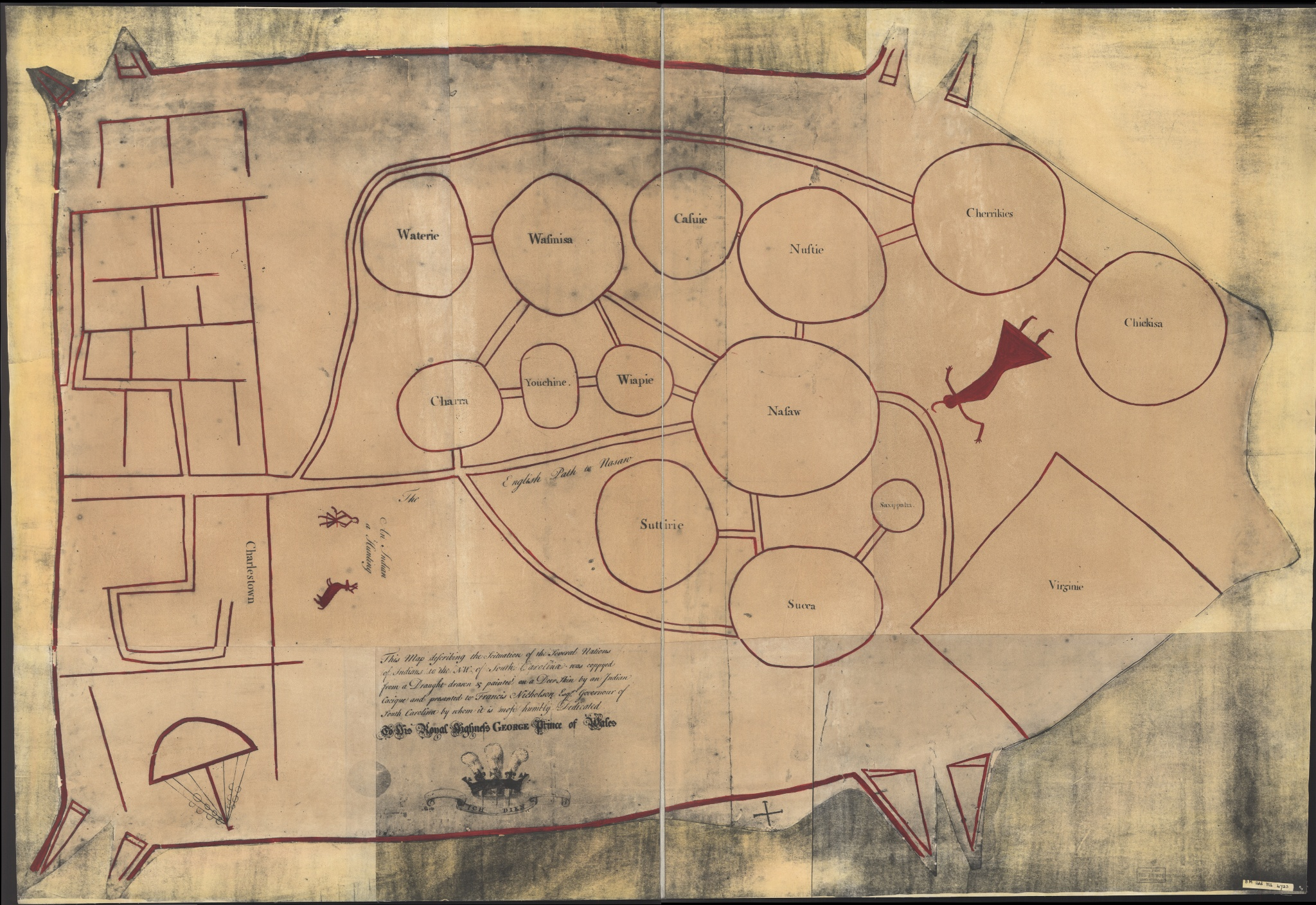 Catawba deerskin map given to South Carolina colonial Governor Francis Nicholson in 1721