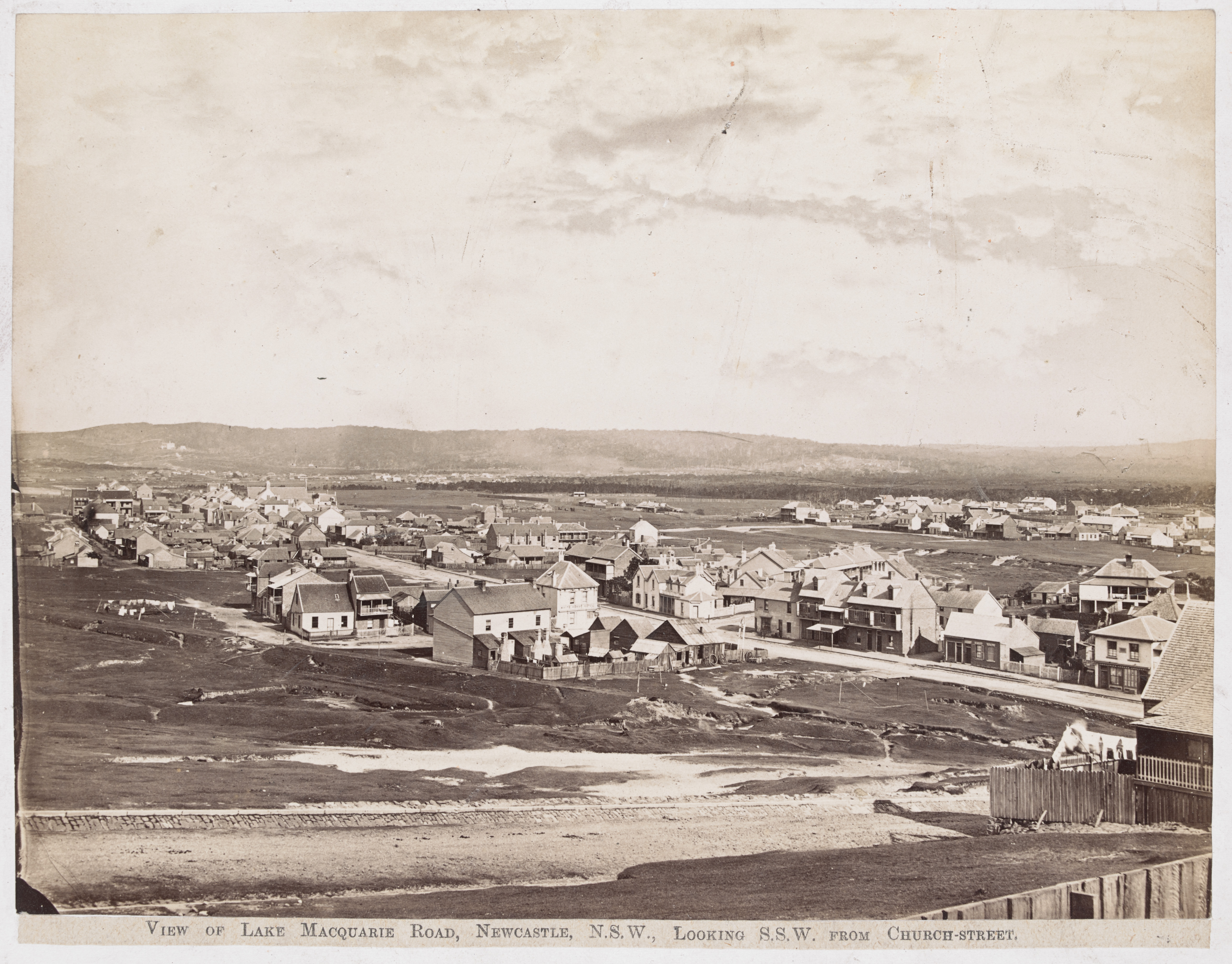 View of Lake Macquarie Road Looking S.S.W. from Church Street ( H141645 - Courtesy of the State Library of Victoria)