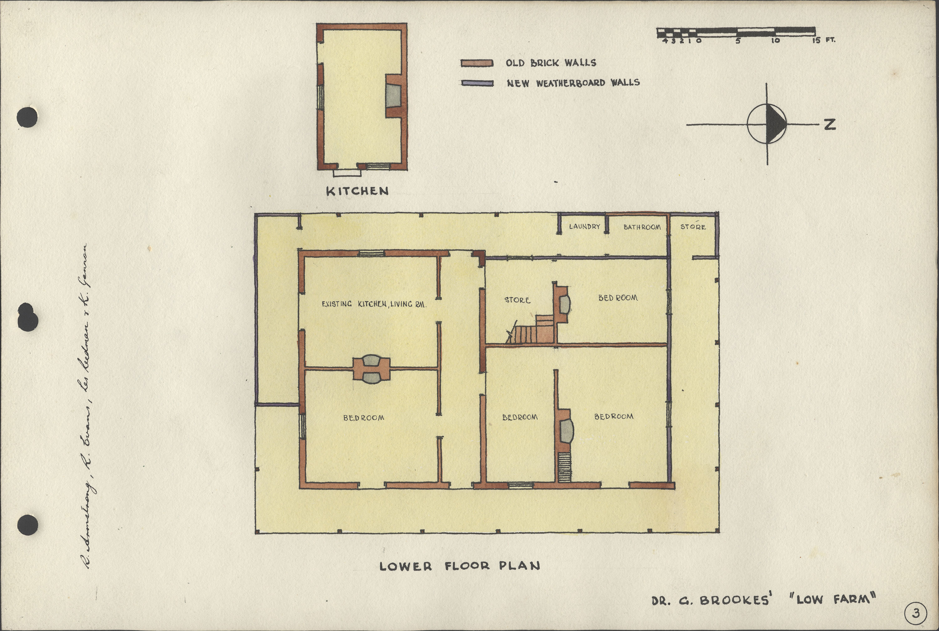 """Floor Plans to Dr G. Brookes' """"Low Farm"""""""