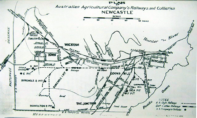 Plan of the Australian Agricultural Company's Railways and Collieries Newcastle.