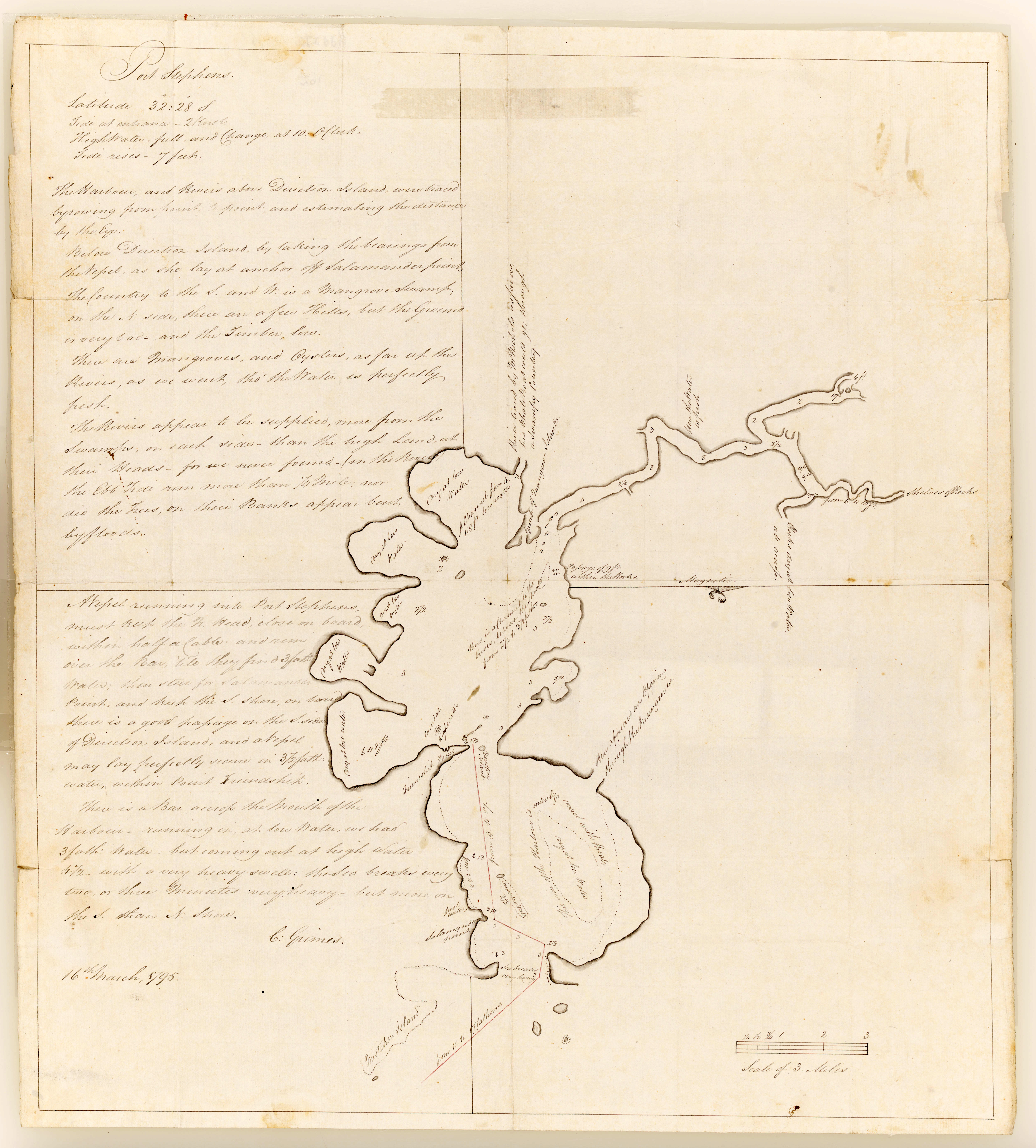 Port Stephens Surveyed by C Grimes 16th March 1795 (Courtesy of the State Library of NSW)