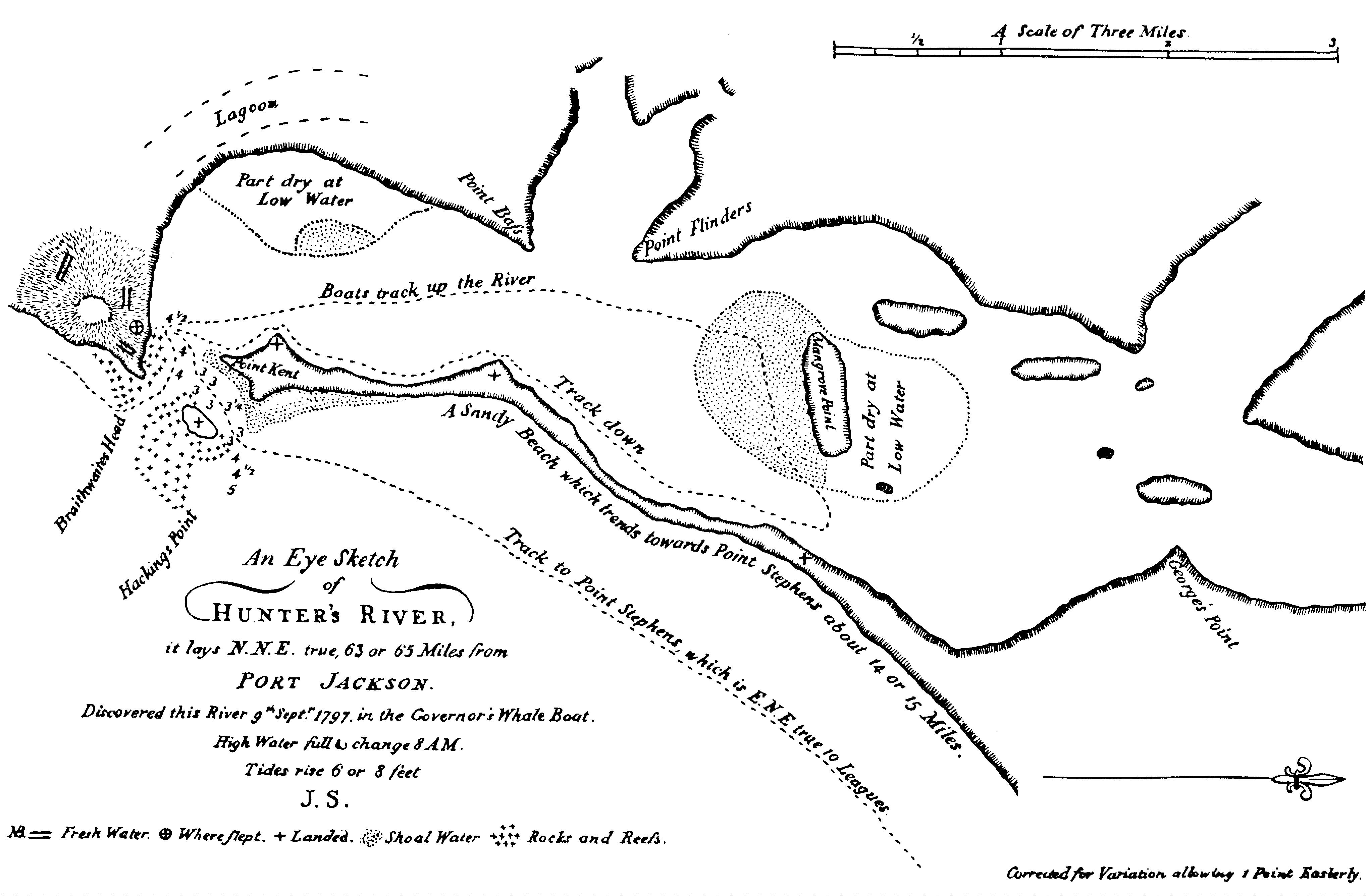 Lieutenant John Shortland's Eye Sketch of Hunter's River 1797, first published 1810.