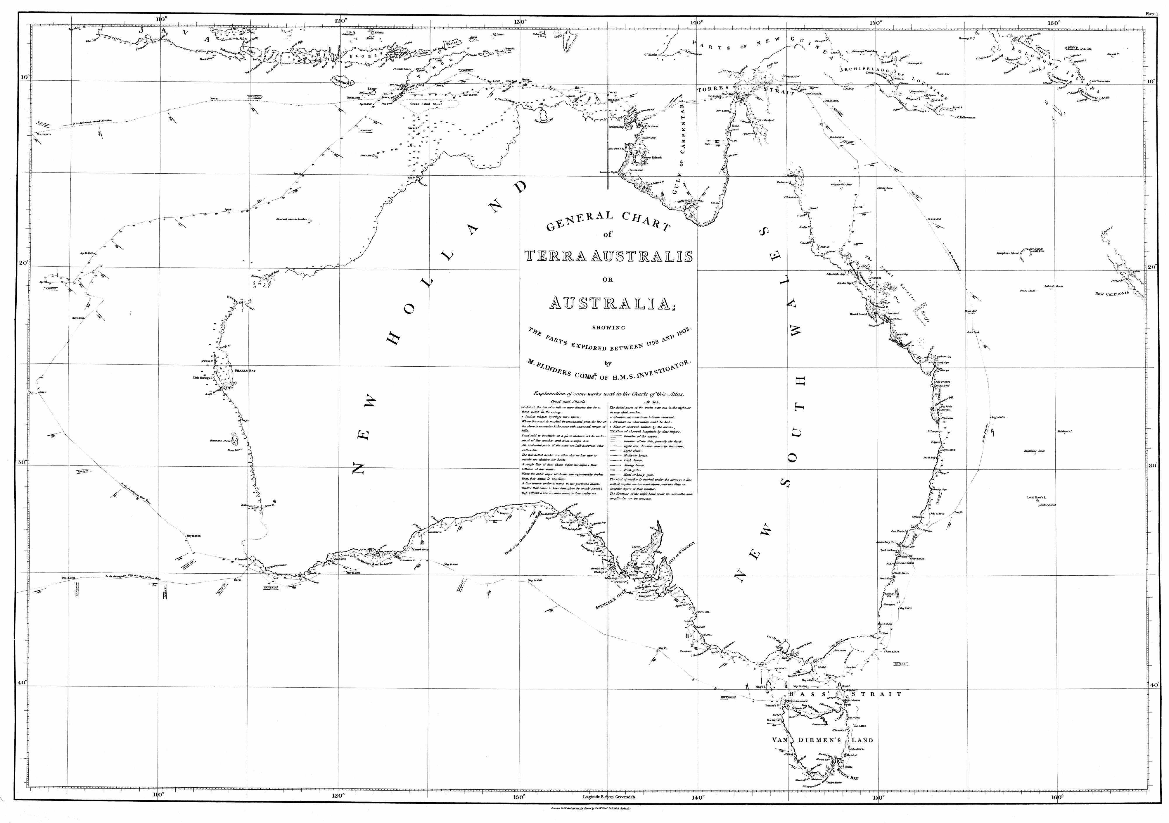 General Chart of Terra Australis or Australia Showing The Parts Explored Between 1798 and 1803 by M. Flinders Commander of H.M.S Investigator and his Cat, Trim. (Courtesy of University of South Australia)