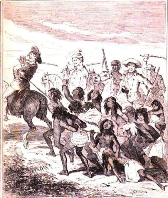 """""""Australian Aborigines Slaughtered by Convicts"""" (Phiz, The book of remarkable trials … , 1840, between 526,527; Chronicles of Crime V. II, 1841 , between 472,473)."""