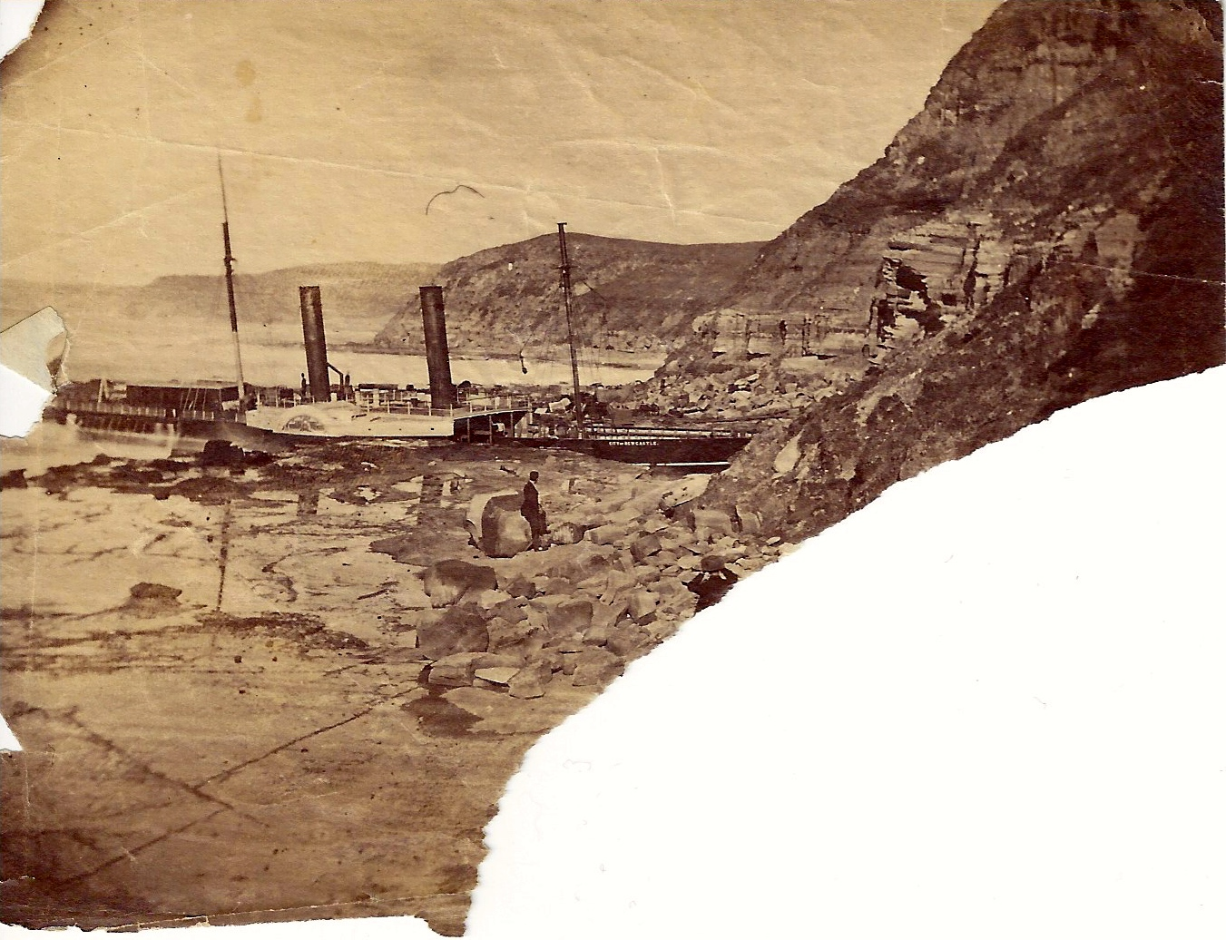 Shipwreck of the City of Newcastle, 1878 (Photo Credit: Digitised by Anne Glennie from Glennie Family Albums) Click for larger view