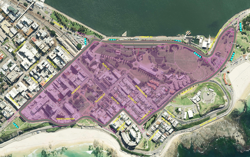 The Newcastle Circuit for Supercars Newcastle Coastes Hire 500 Race (Source: http://www.supercars.com/newcastle/circuit/)