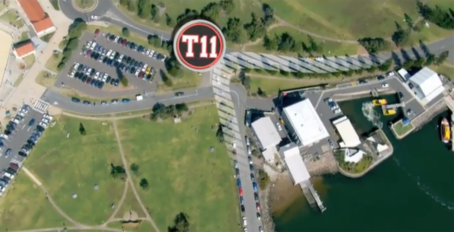 T11 Turn right onto Wharf Road towards the roundabout at the base of Watt Street