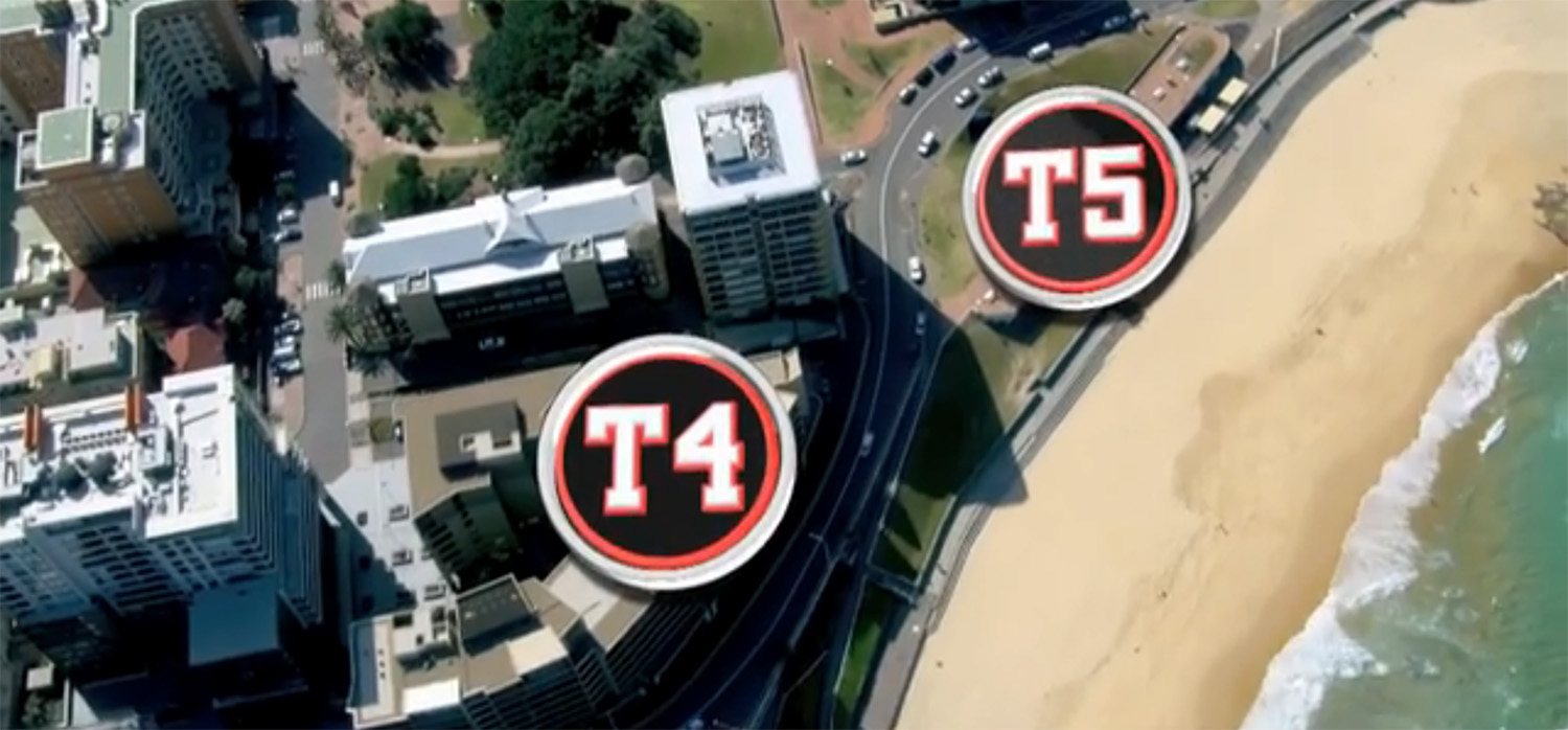 T4 the Shortland Esplanade around to T5 with a view of Newcastle Beach