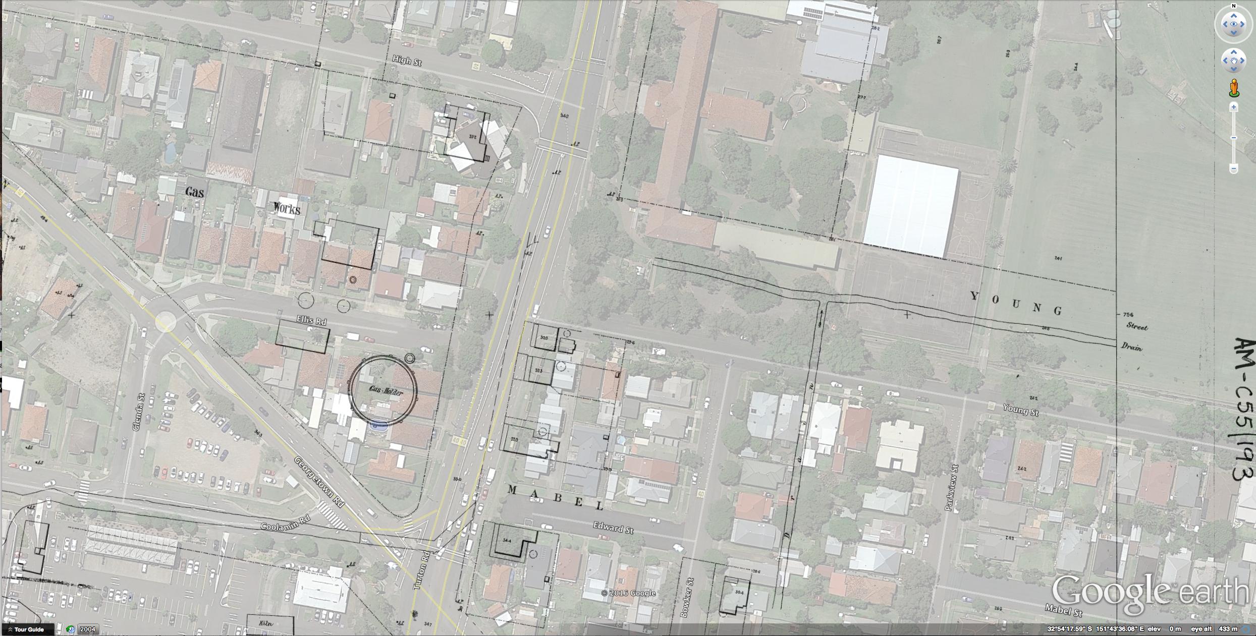 Waratah Gas Works Site overlay in Google Earth 2017