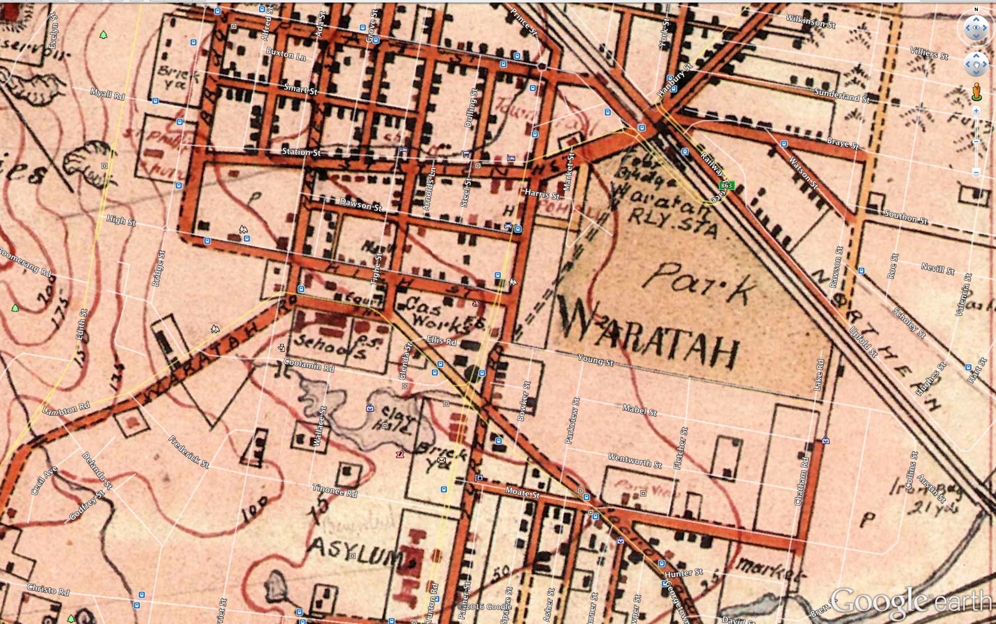 Waratah portion of the 1910 Newcastle plan showing St Phillips at the end of Station Street Waratah (click for a larger version)