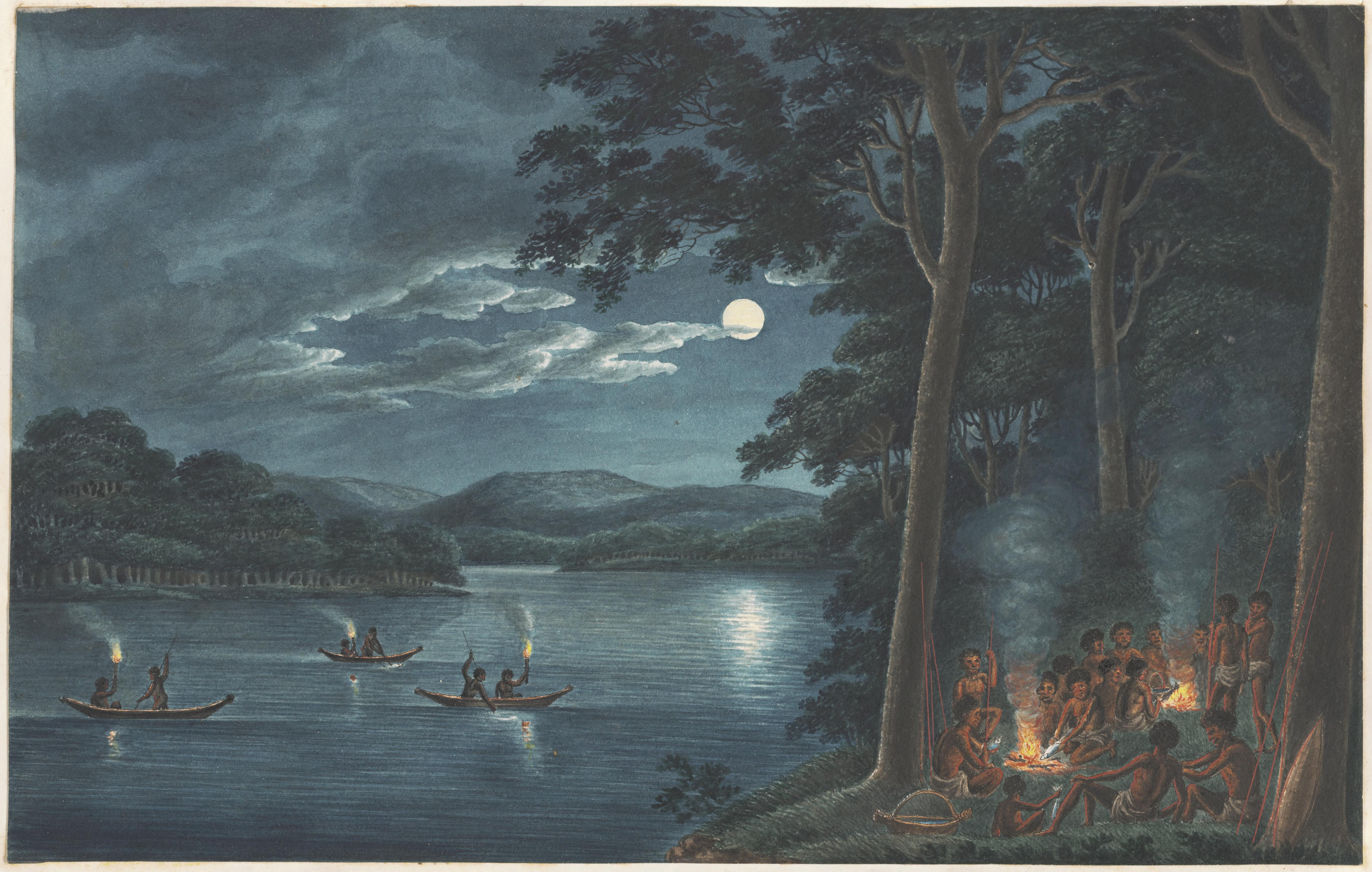 Digital Copy of Aborigines Night Fishing By Torches ca. 1817 Painting by Joseph Lycett